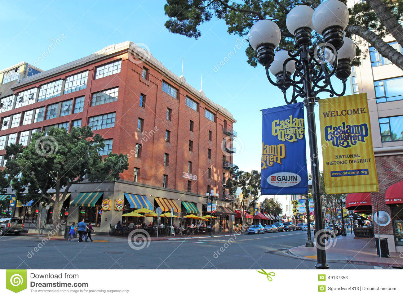 signs and buildings in the gaslamp quarter of san diego califor editorial stock photo image. Black Bedroom Furniture Sets. Home Design Ideas