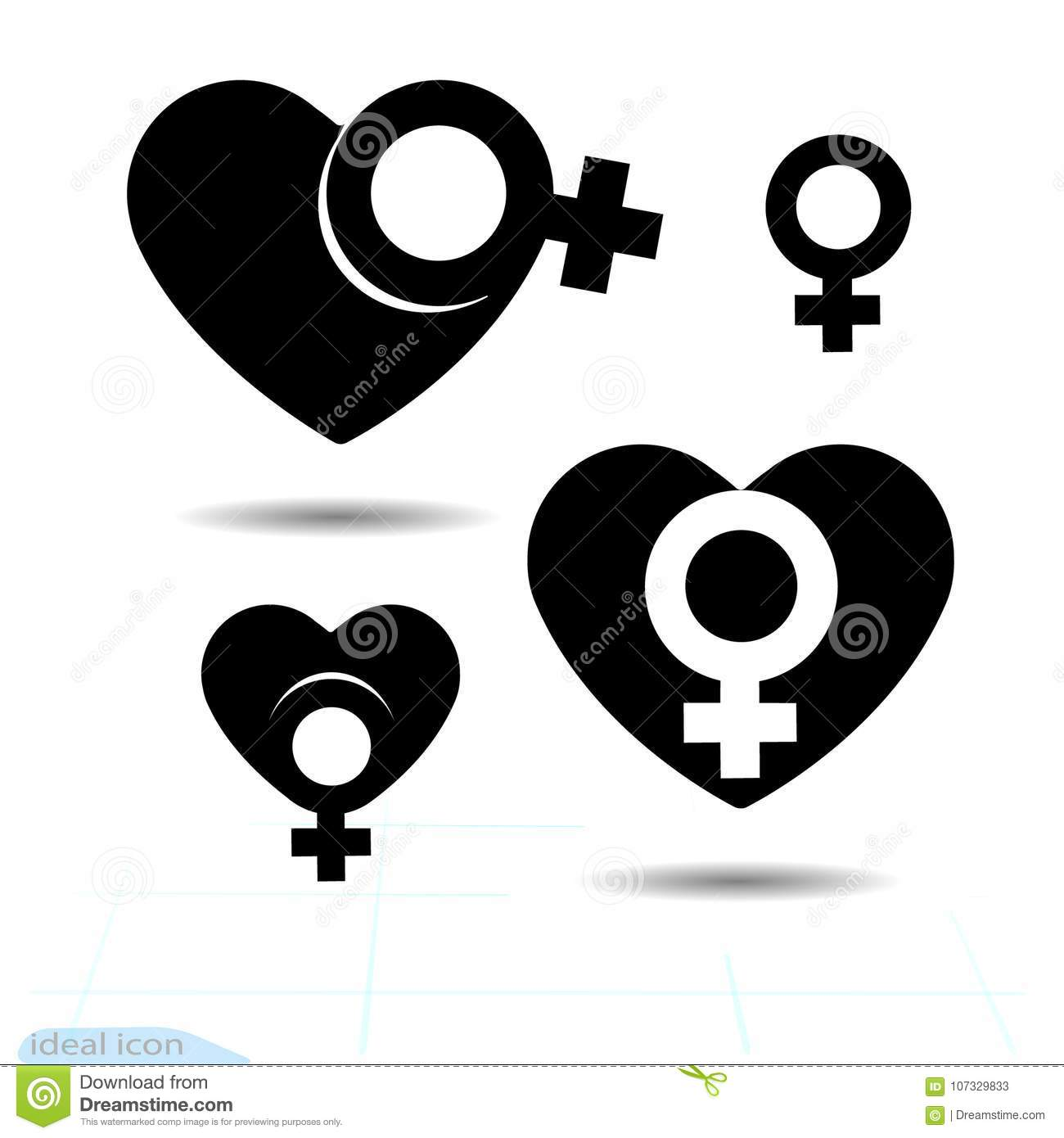 The signs gender icon of the heart. A symbol of love. Valentine s Day. Flat style for graphic design, logo. Black as coal. A lot o