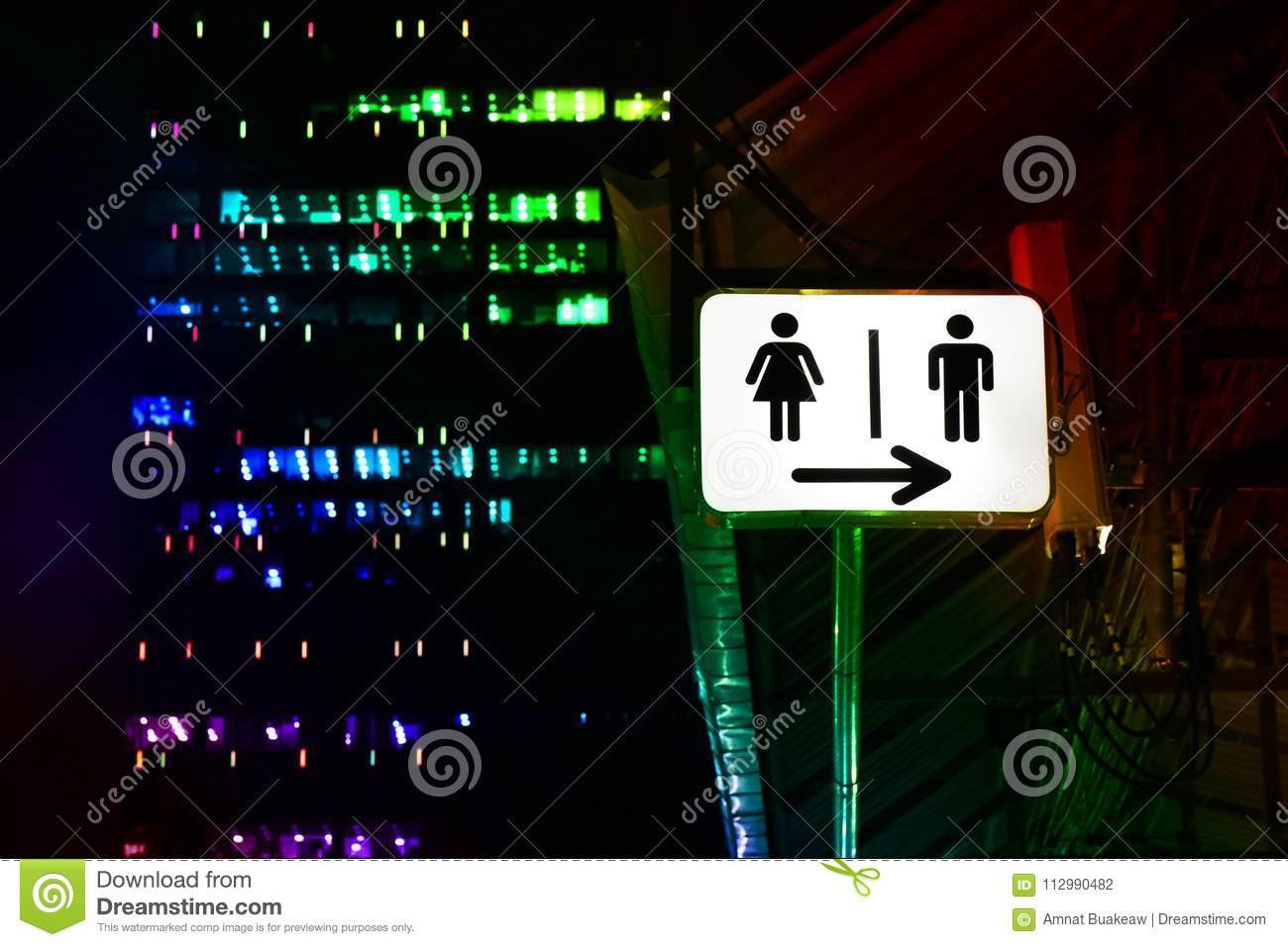 Signs night bathroom, toilet sign male - female, signs, lights, signs, signs for toilets in pubs - public house, night parties and