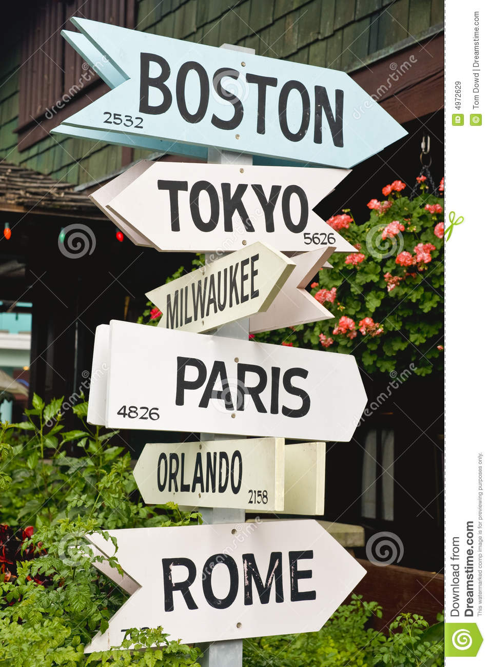 signs pointing toward cities stock image image 4972629