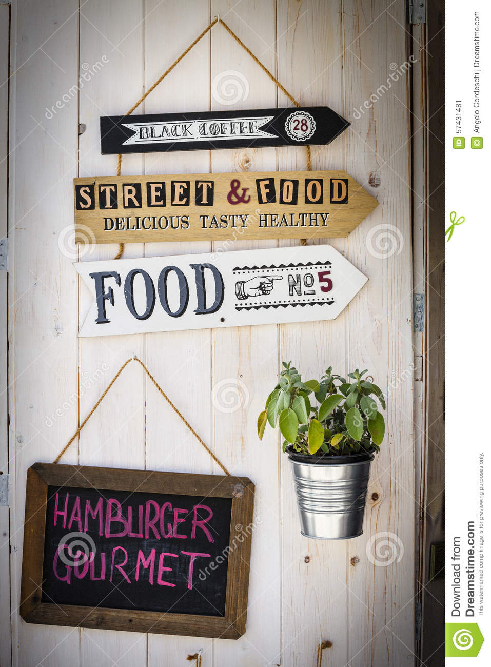 Signs restaurant retro arrows decoration wooden background stock illustration image 57431481 - Restaurant decoratie ...