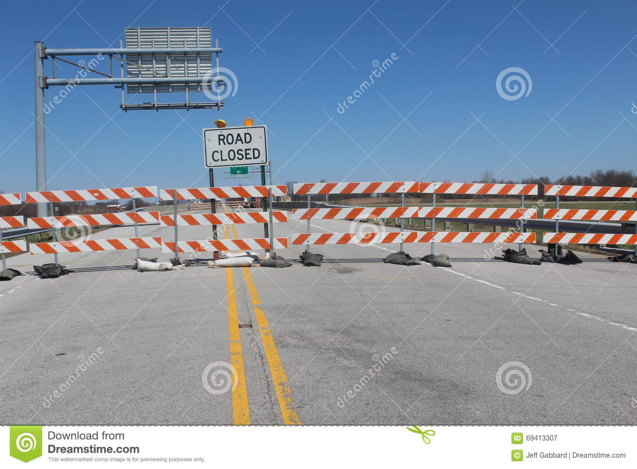 Signs for Road Closed over bridge