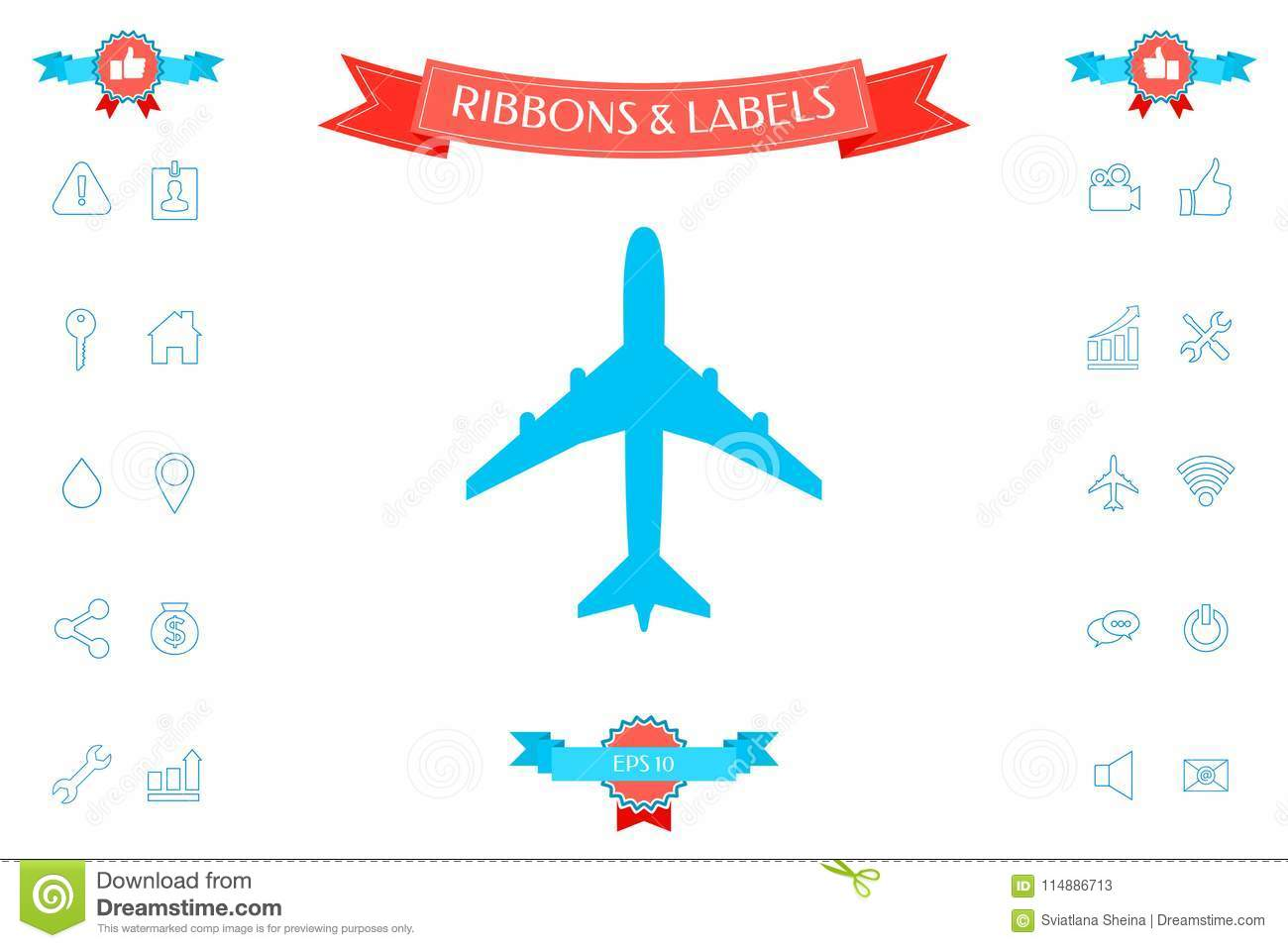 Airplane Icon Symbol Stock Vector Illustration Of Collection