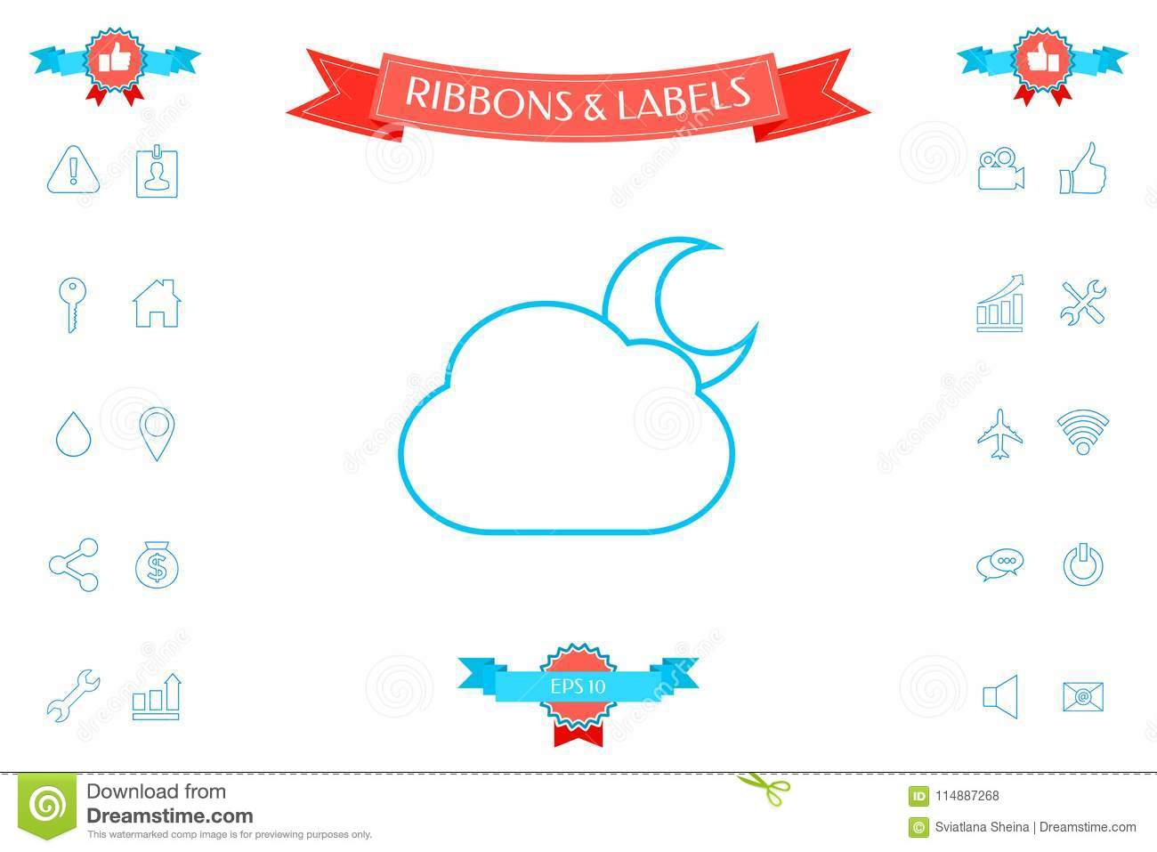 Cloud Moon Line Icon Stock Vector Illustration Of Sign 114887268