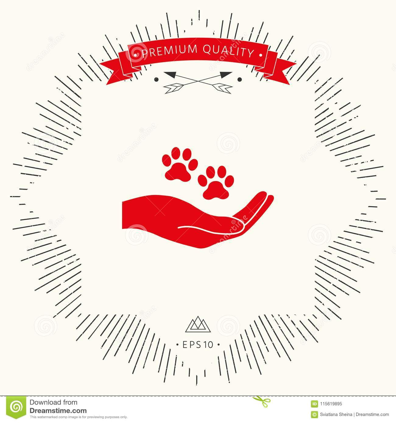 Hand Holding Paw Symbol Animal Protection Stock Vector