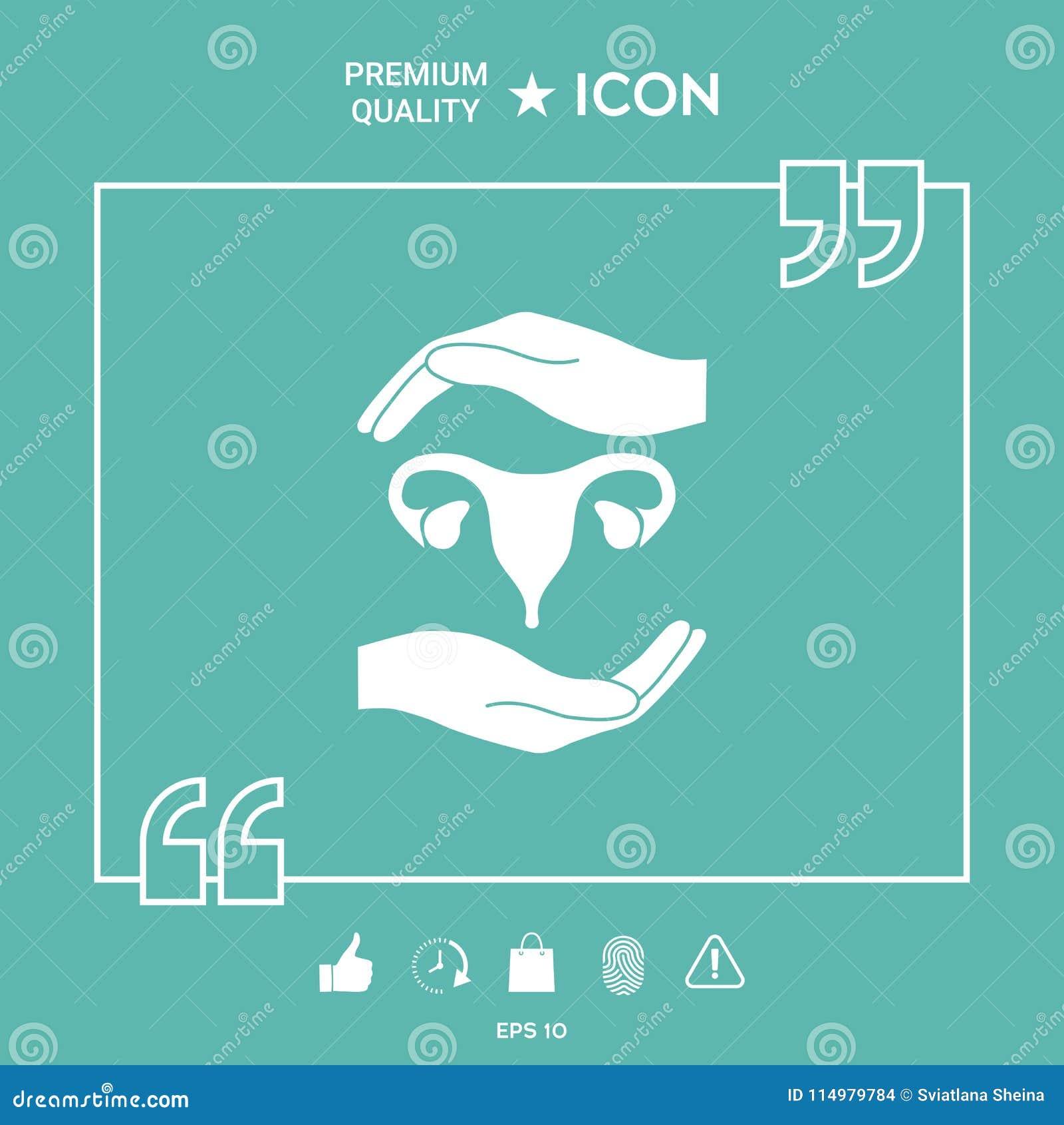 Hands Holding Female Uterus Protection Symbol Stock Vector