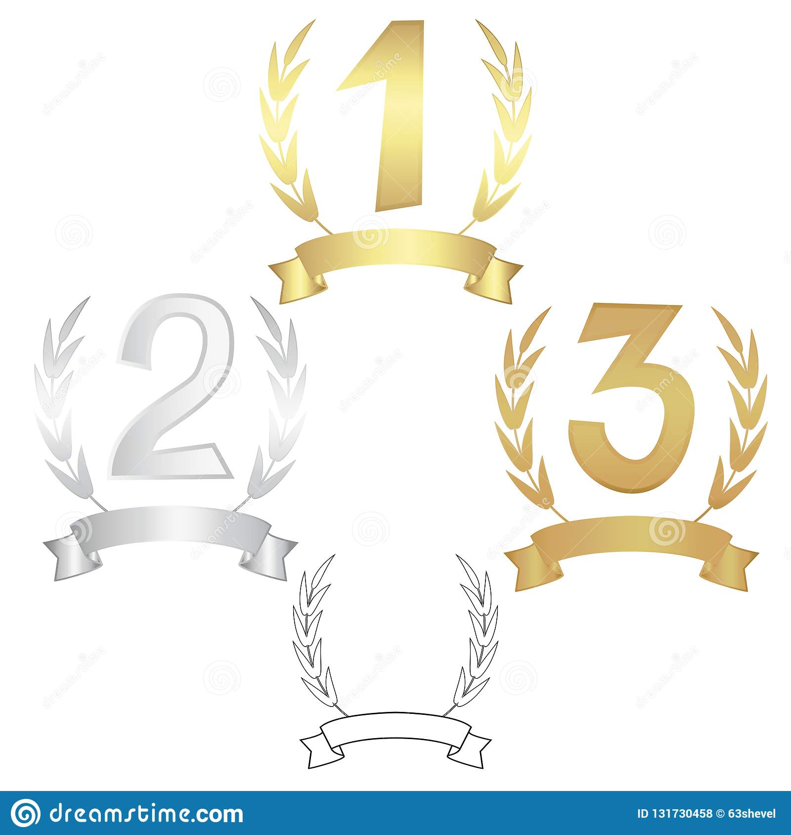 Signs of the winners. The first, second, third with wreaths and ribbons. Vector illustration