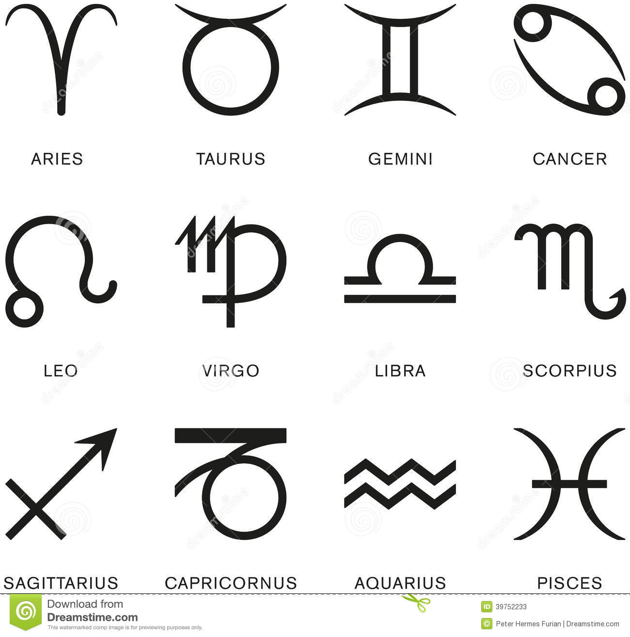 Signs Of The Zodiac Stock Photo Image 39752233