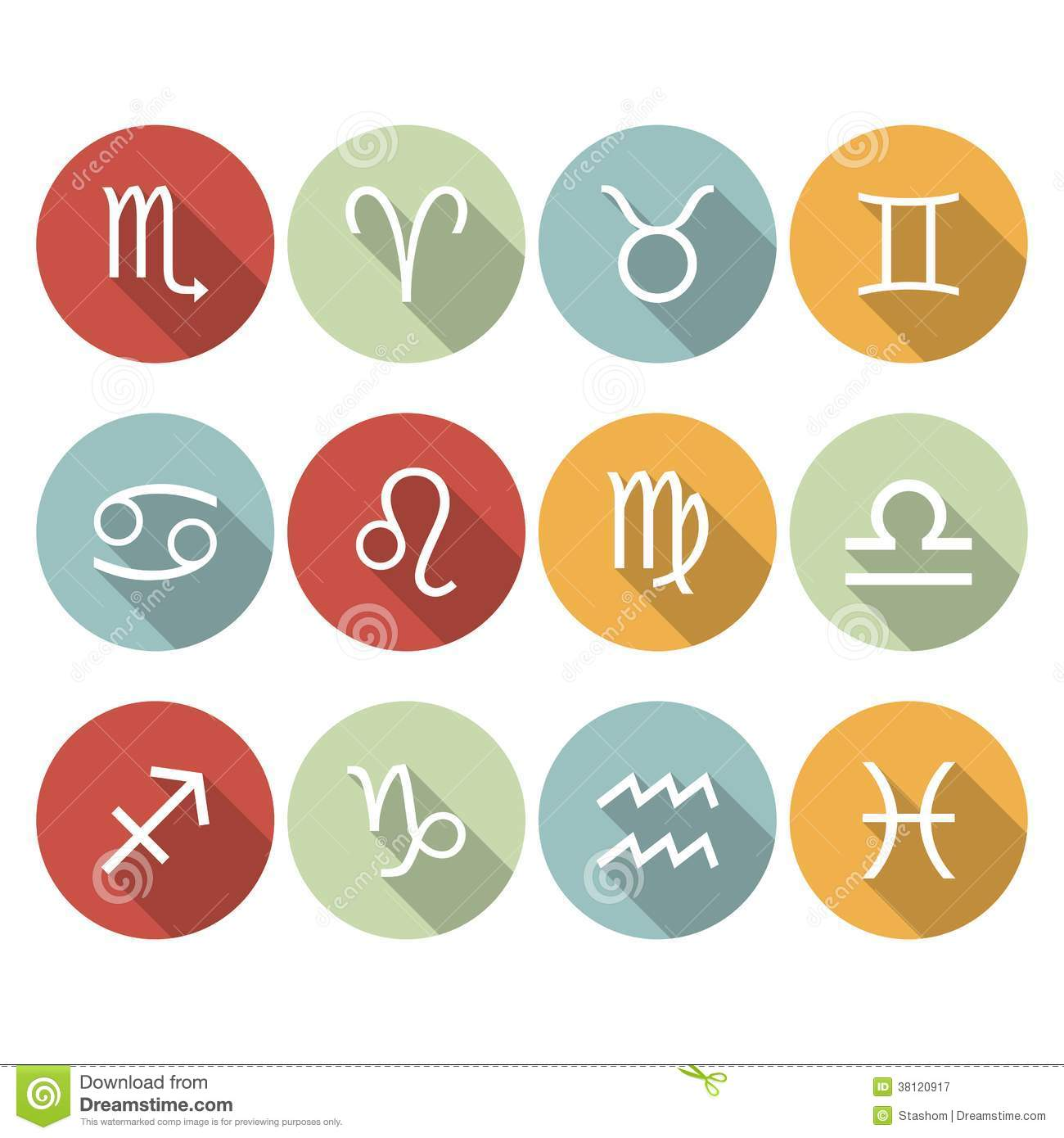 Signs Of The Zodiac. Vector Flat Icons Royalty Free Stock ...