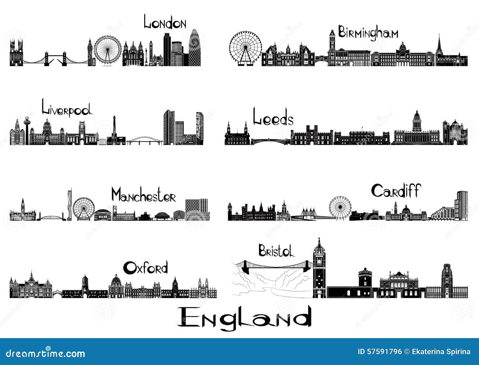 Signts de la silueta de 8 ciudades de Inglaterra