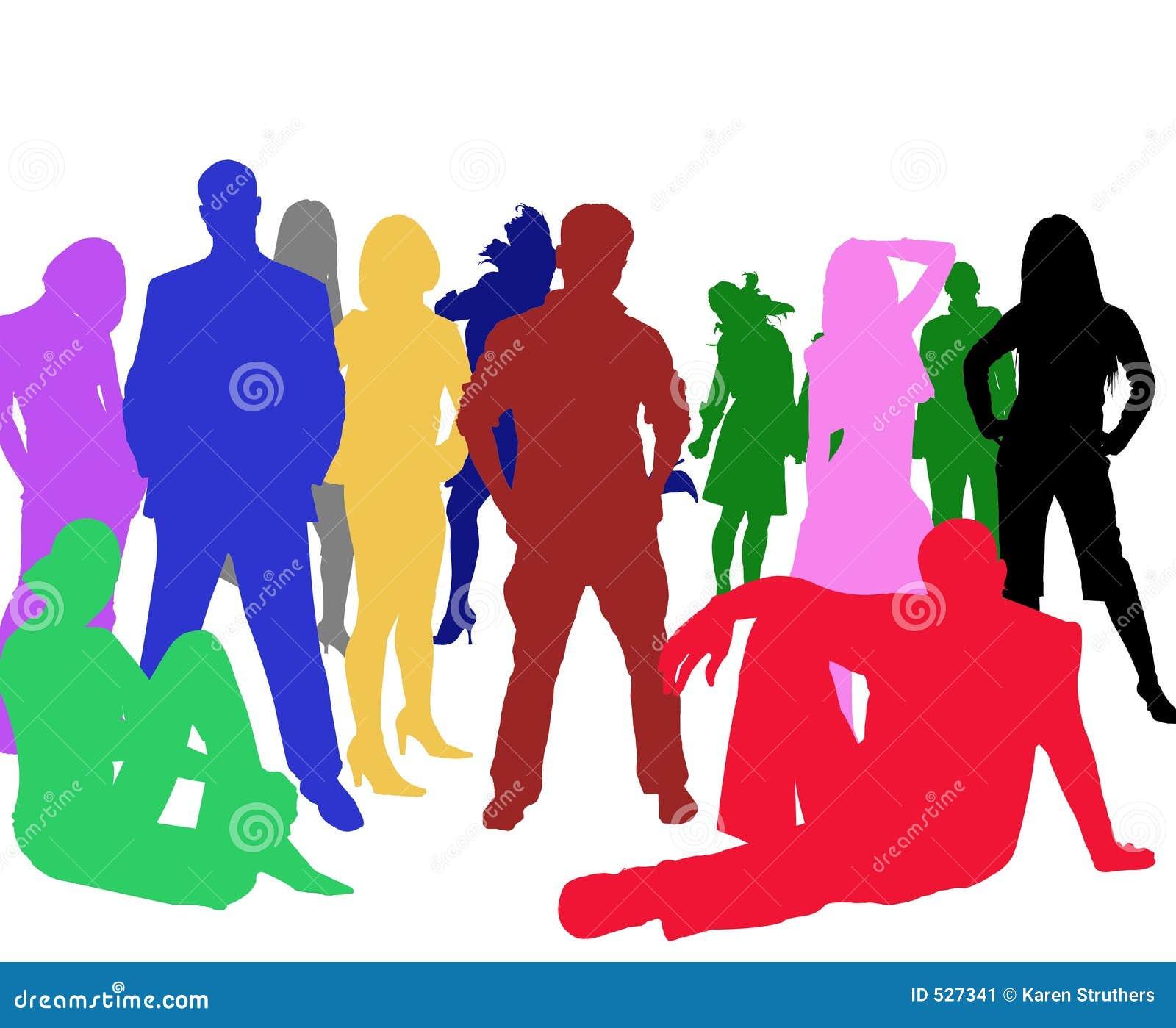 Sihouettes d un groupe des jeunes