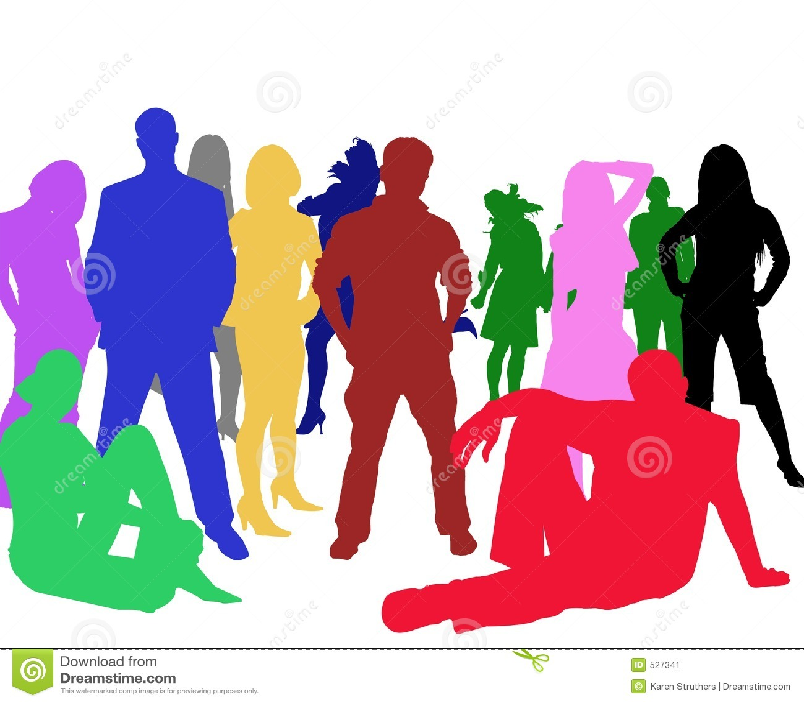 Sihouettes de um grupo de jovens