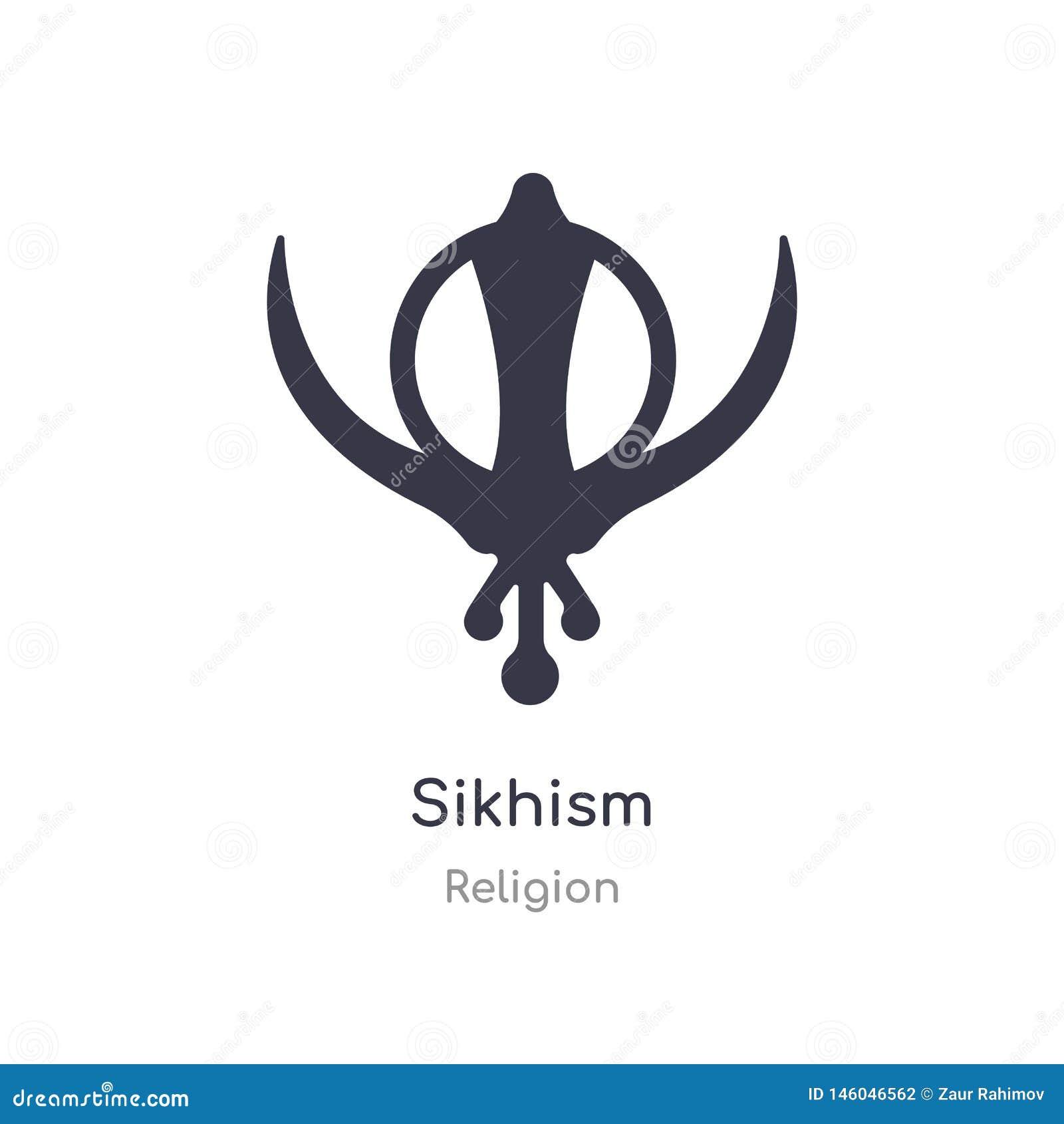 Sikhismpictogram de geïsoleerde vectorillustratie van het sikhismpictogram van godsdienstinzameling editable zing symbool kan geb