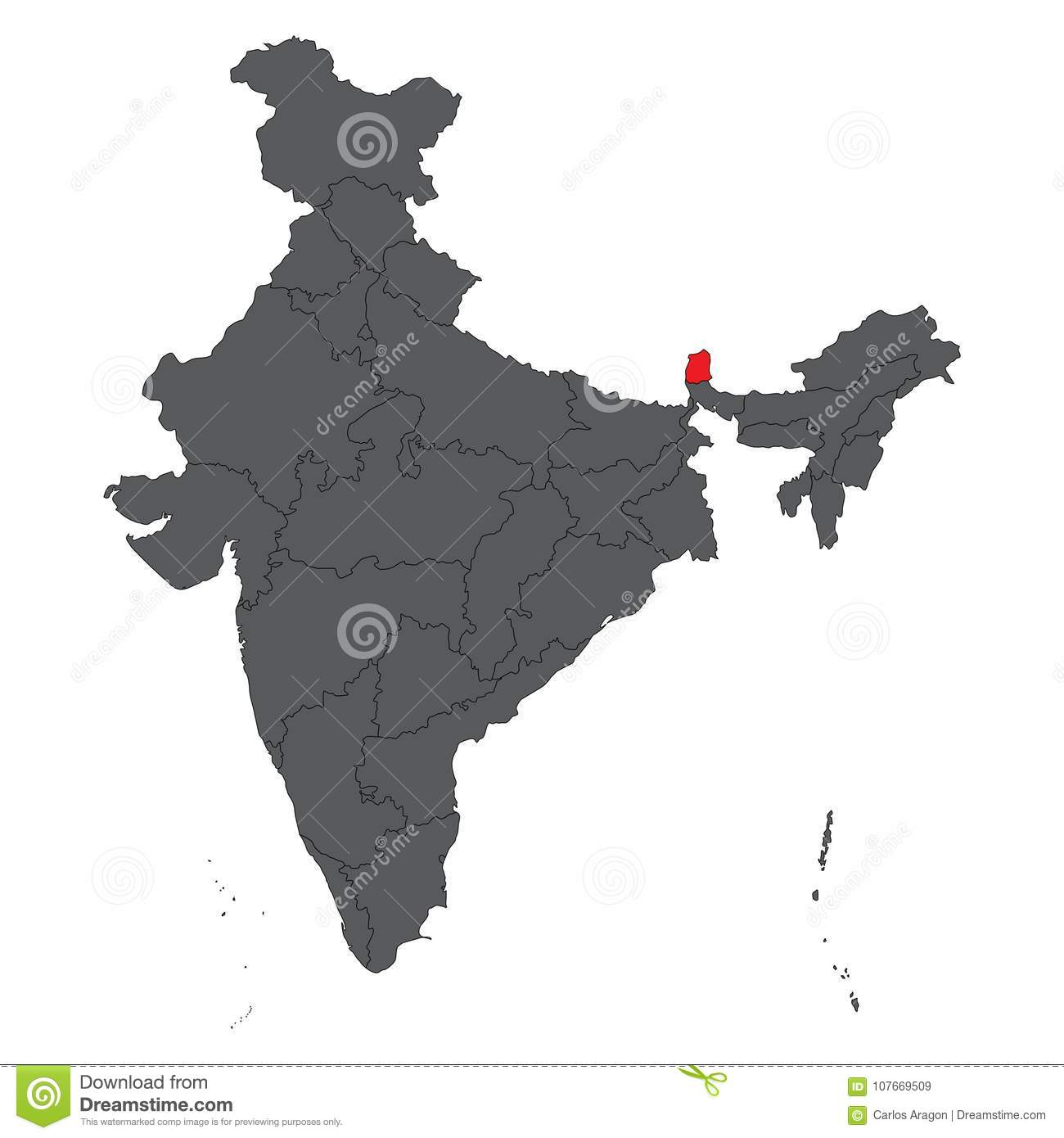 Carte Inde Sikkim.Sikkim Red On Gray India Map Vector Stock Vector Illustration Of