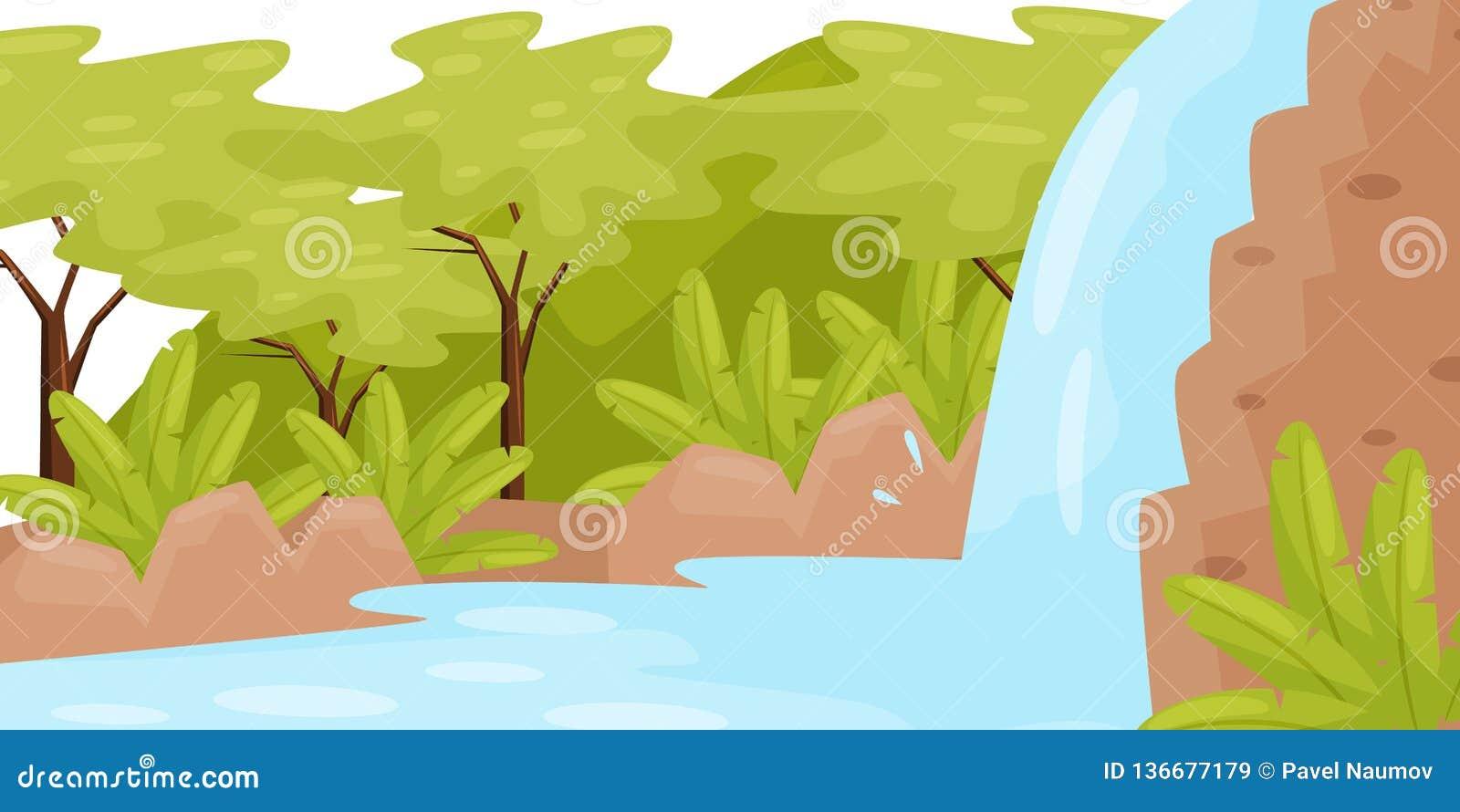 Siklawa w Tropikalnej dżungli Naturalny krajobraz z drzewami i dzikimi roślinami zielone pola niebieskiego nieba scenerii lato Pł
