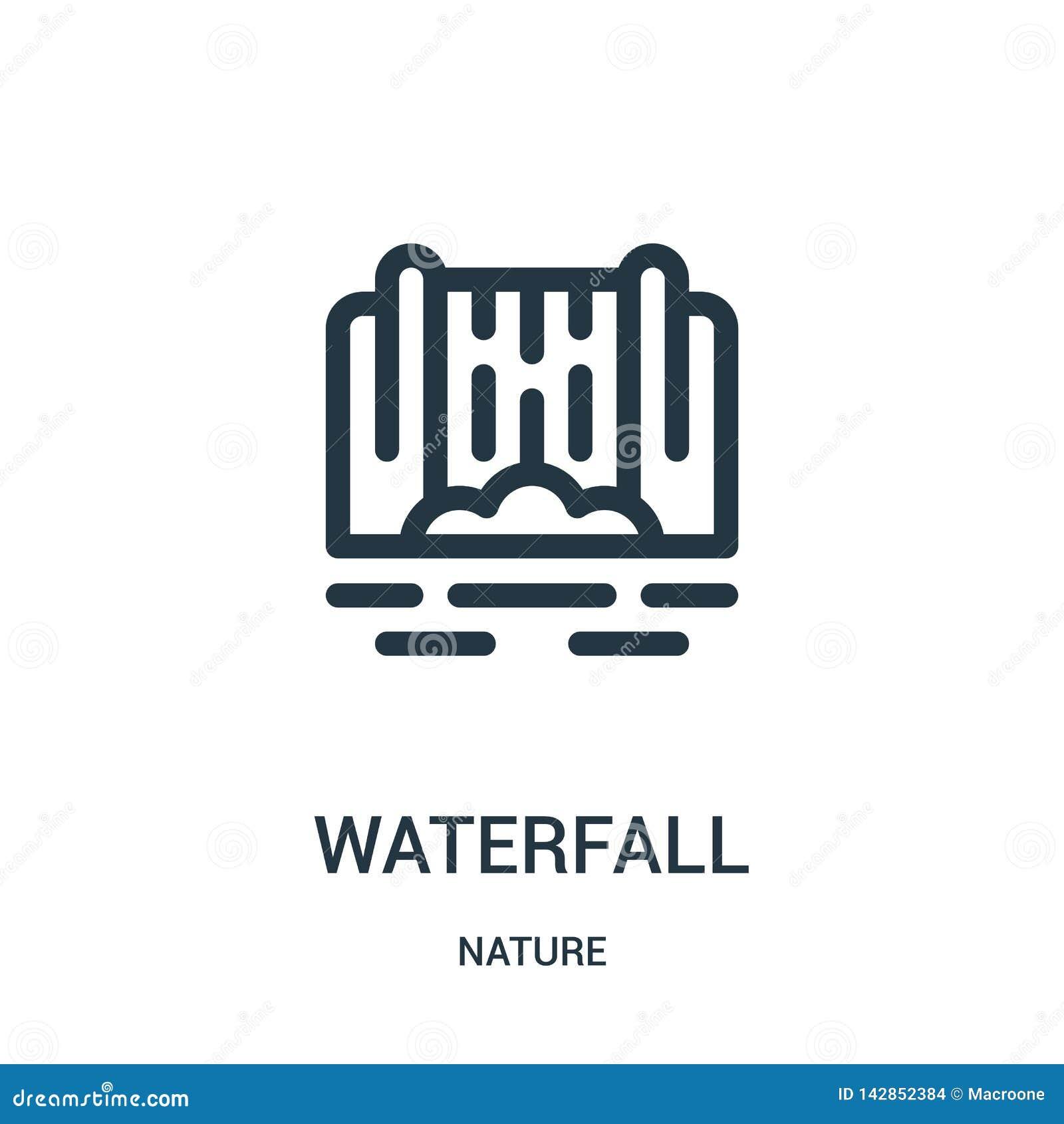 Siklawy ikony wektor od natury kolekcji Cienka kreskowa siklawa konturu ikony wektoru ilustracja Liniowy symbol dla używa na siec