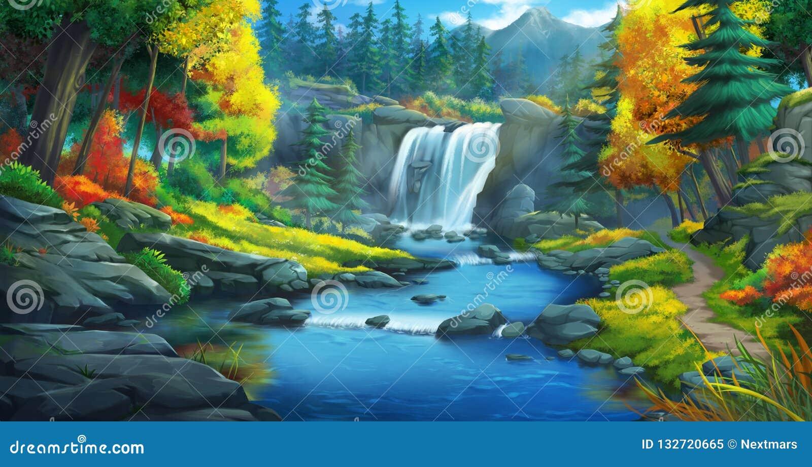 Siklawy Lasowy Beletrystyczny tło