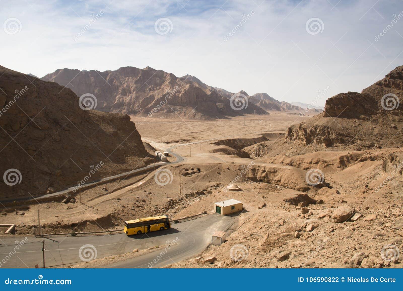 Sikt över den Bafgh öknen från Chak Chak, Iran
