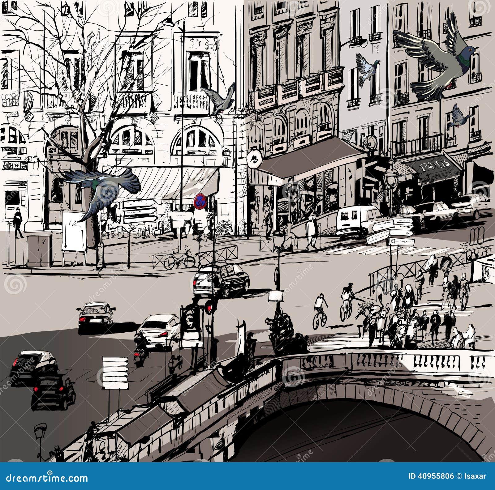 Sikt över Saint Michelbron i Paris