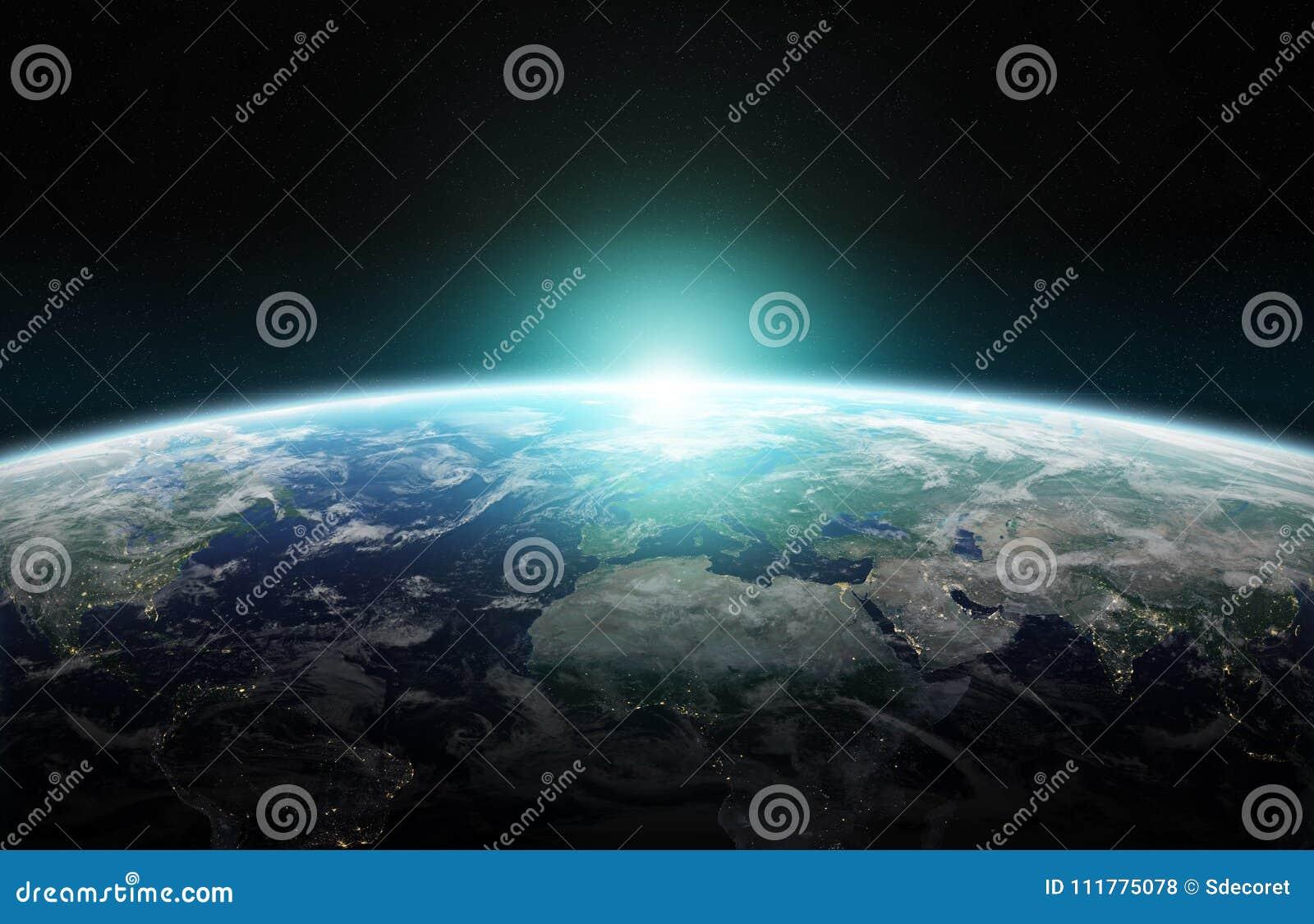 Sikt av blå planetjord i tolkningbeståndsdelar för utrymme 3D av denna
