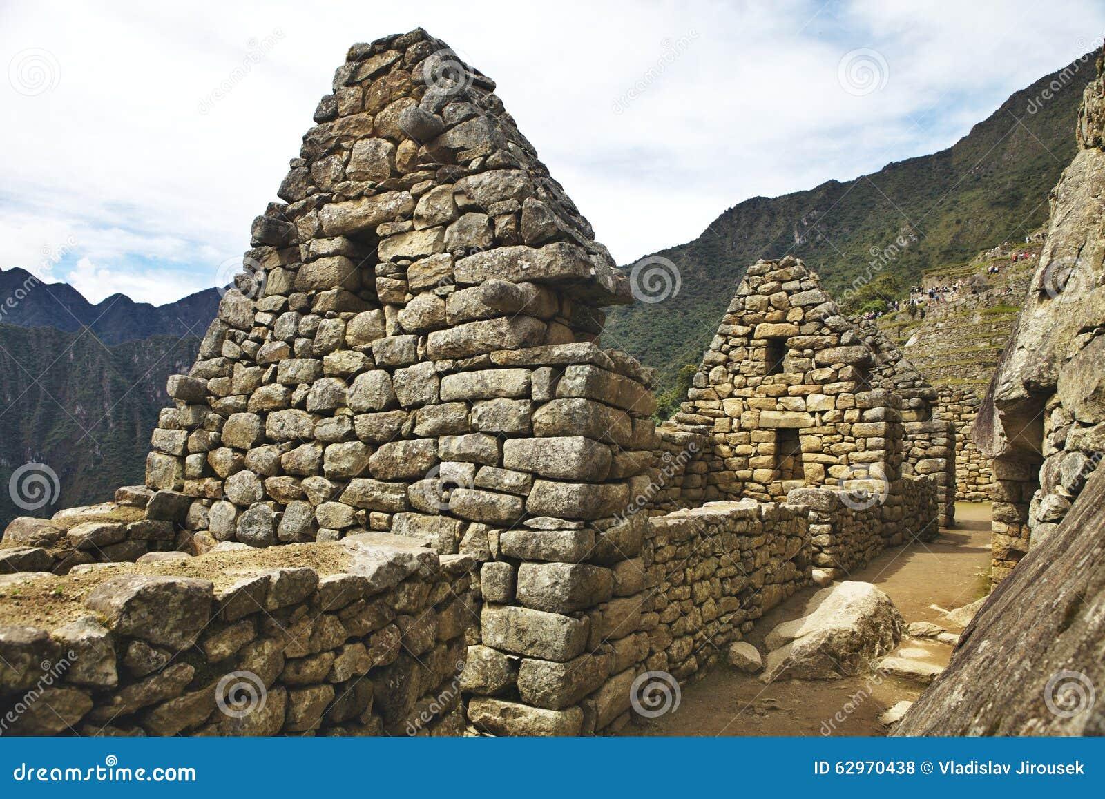 Sikt av den forntida Inca City av Machu Picchu, Peru