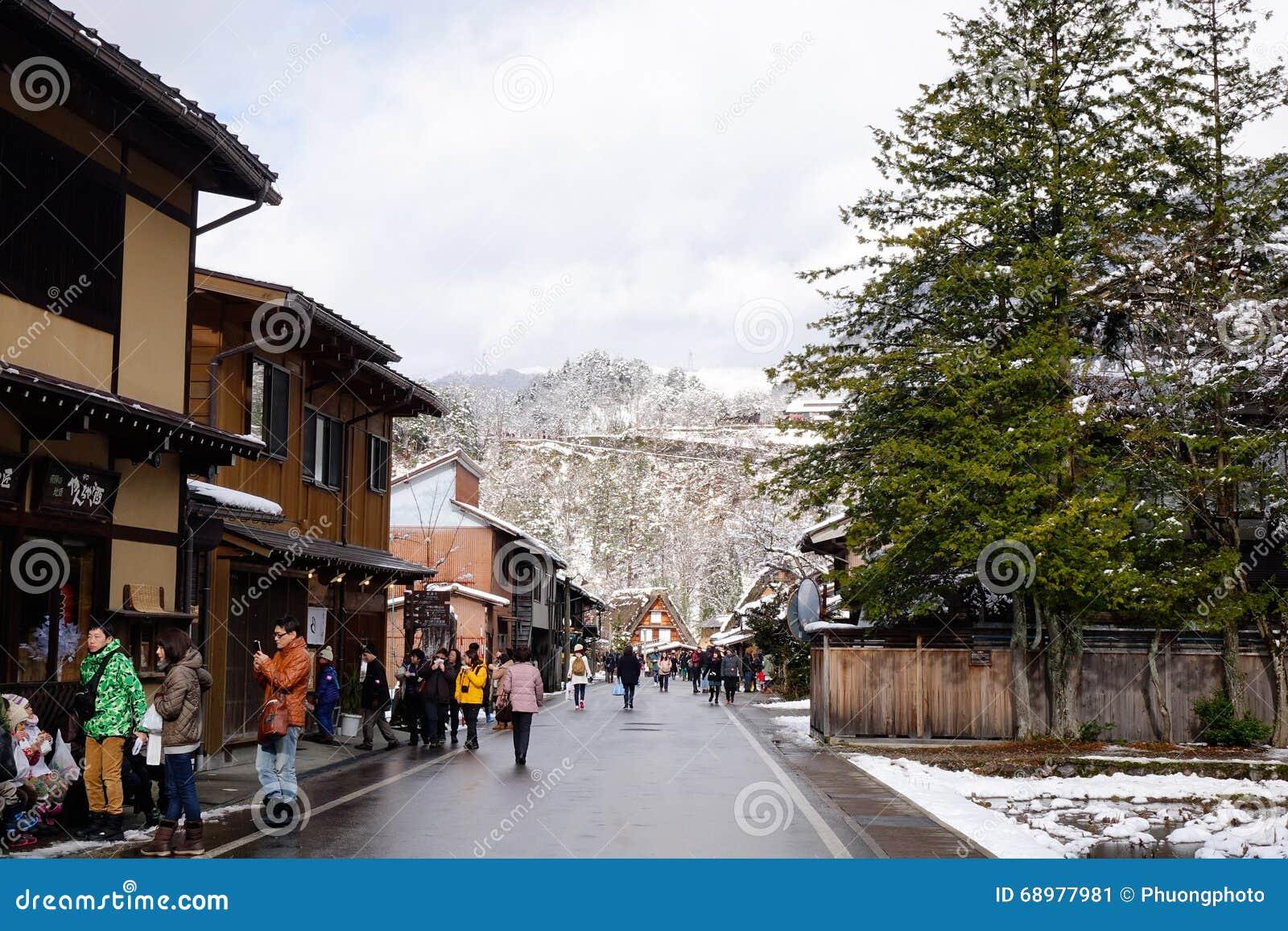 Sikt av den gamla byn i Takayama, Japan