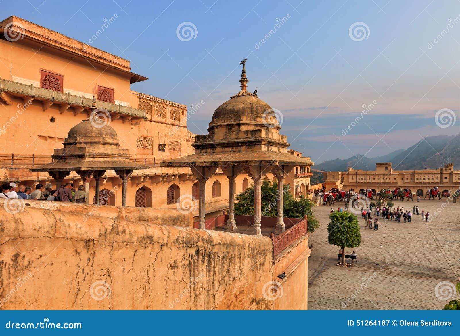 Sikt av det bärnstensfärgade fortet, Jaipur, Indien