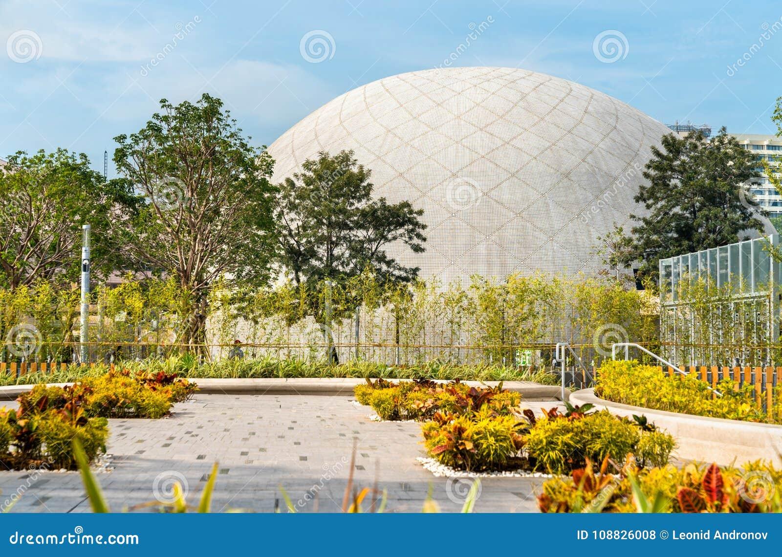 Sikt av Hong Kong Space Museum i Kina