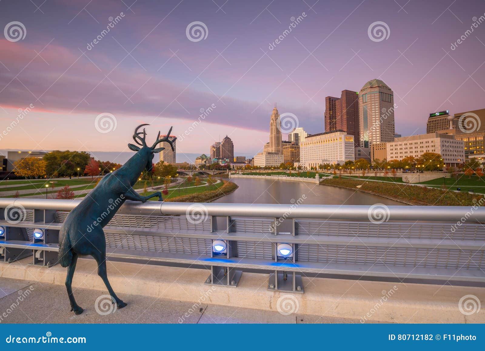 Sikt av i stadens centrum Columbus Ohio Skyline