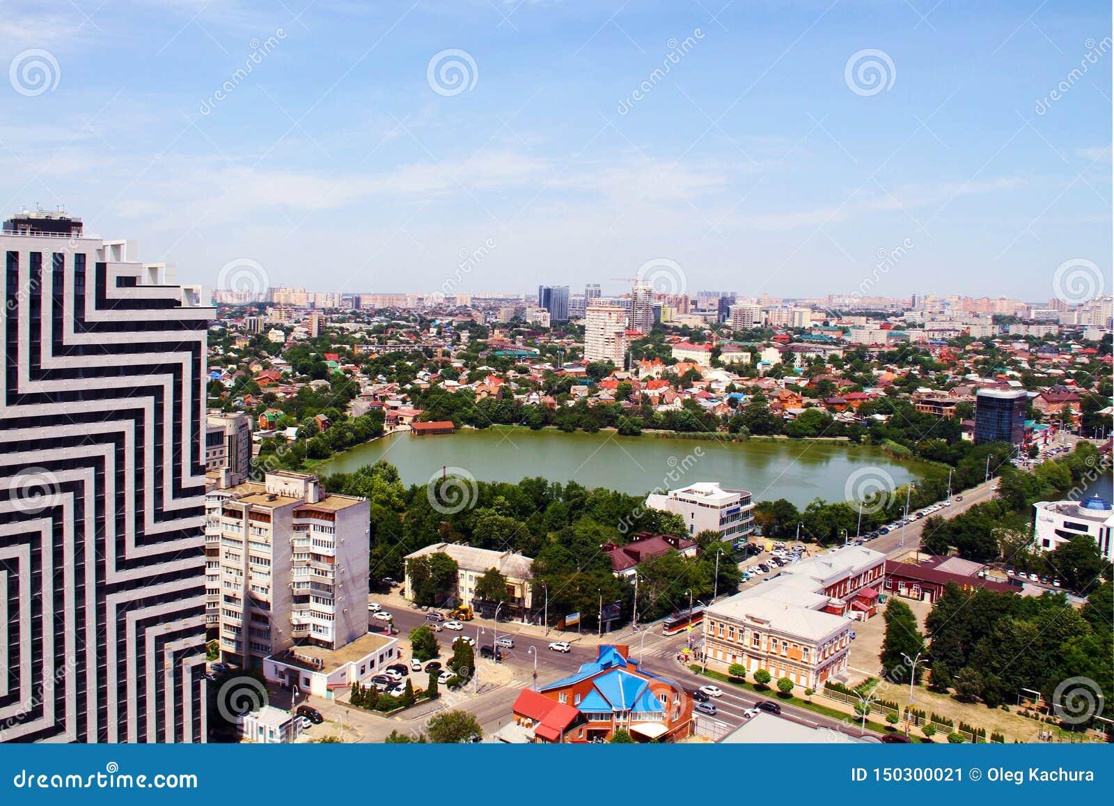 Sikt av staden av Krasnodar