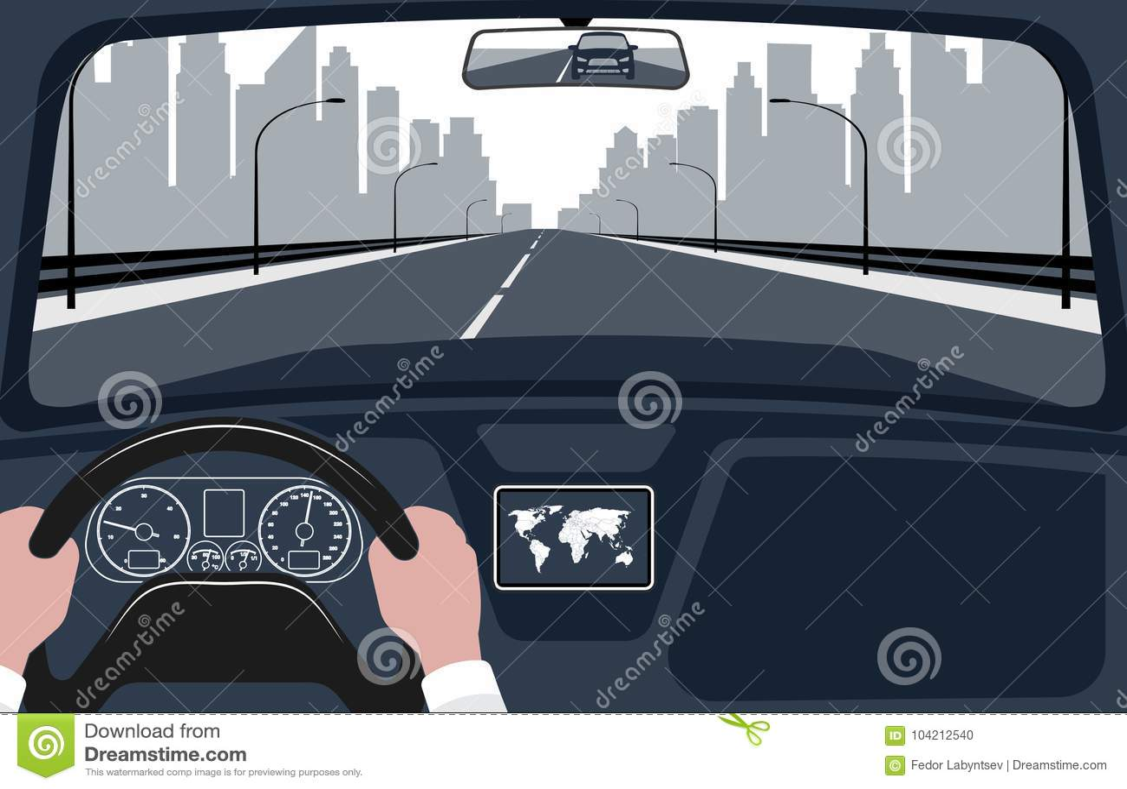 Sikt av vägen från bilinreillustrationen