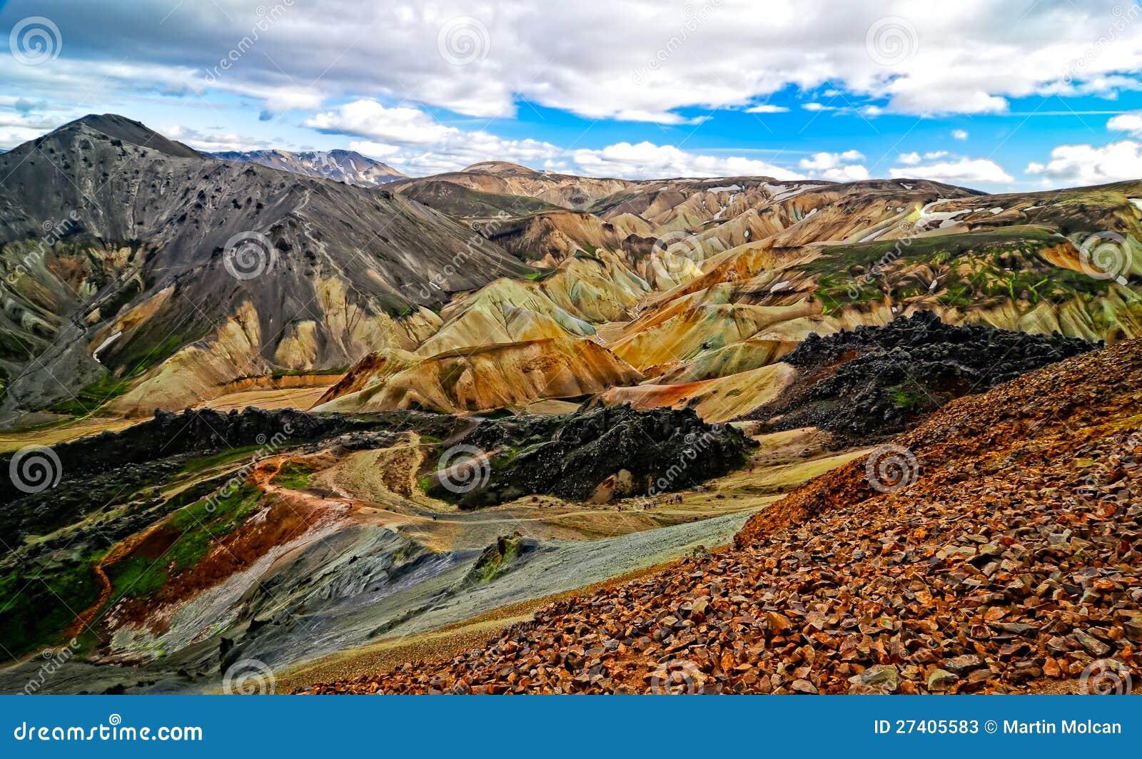Sikt för Landmannalaugar färgrik bergliggande