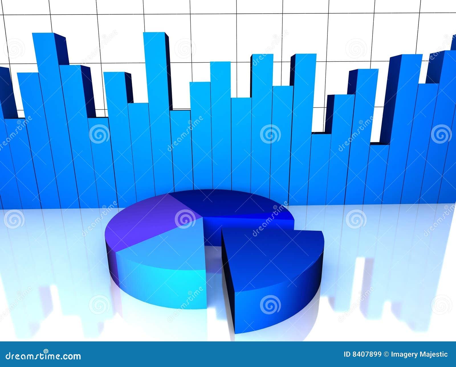 Sikt för pie för graf för stångdiagram övre