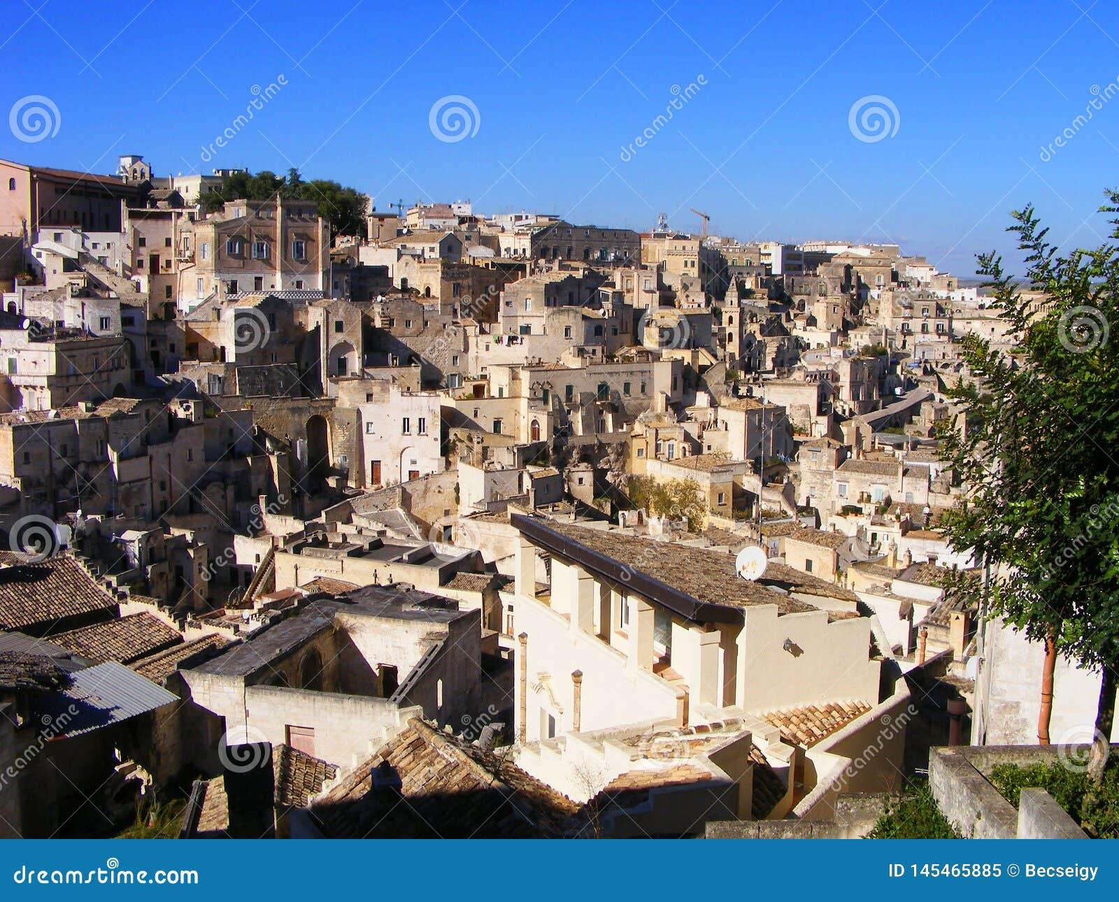 Sikt för stad för arv för Matera UNESCOvärld - Basilicata, södra Italien
