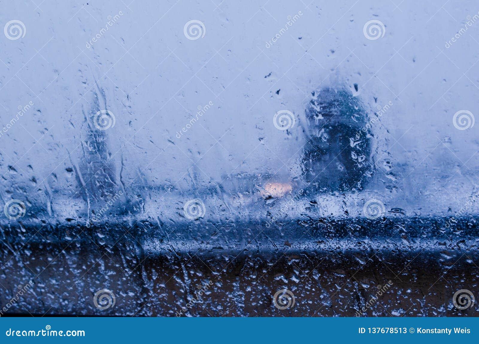 Sikt från fönstret på ett vått vinterlandskap Våt snö och vita tak