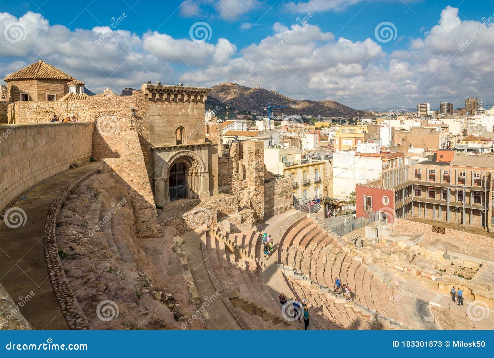 Sikt på den forntida romerska teatern i Cartagena - Spanien