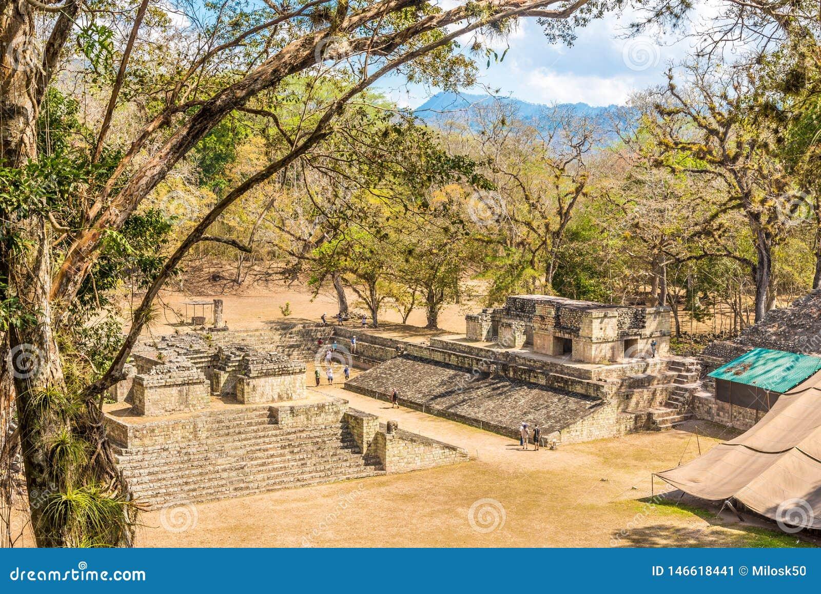 Sikt på den västra domstolen av Copan i Honduras