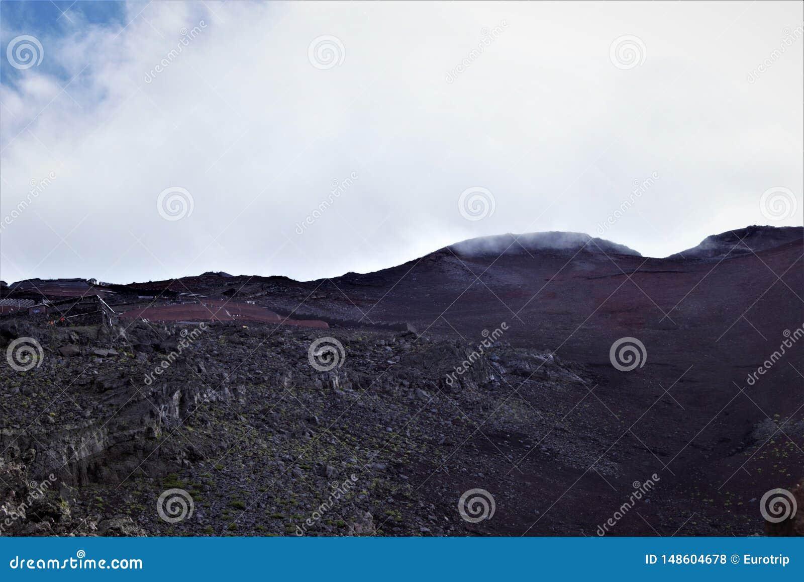 Sikt på maximumet av Fujisan, Mount Fuji, Japan