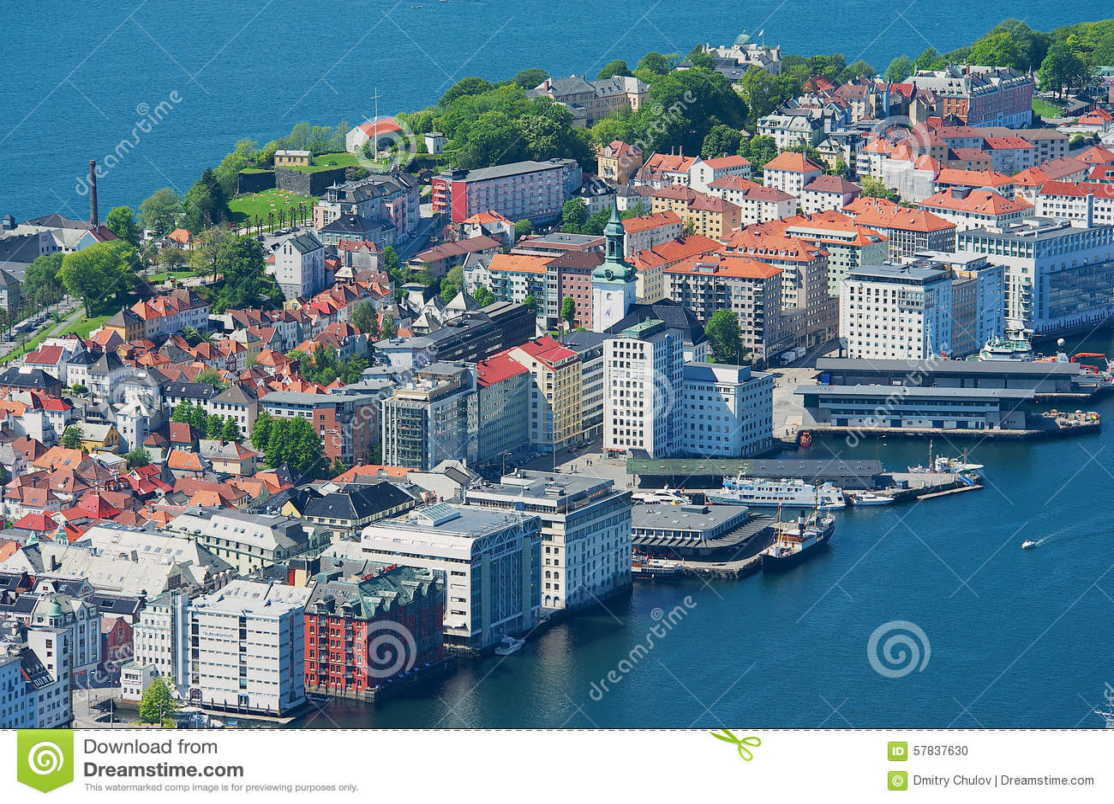 Sikt till byggnaderna och hamnen från den Floyen kullen i Bergen, Norge
