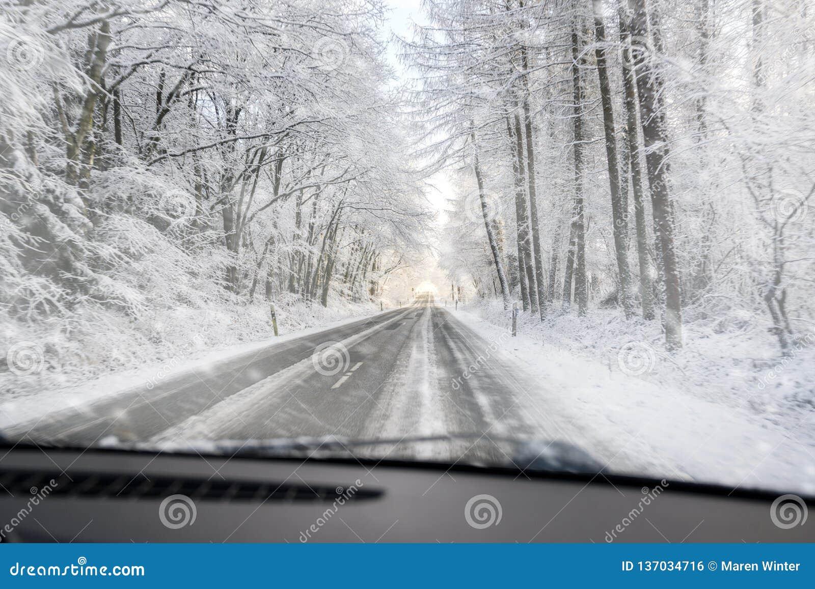 Sikt till och med vindrutan, när köra farligt på en hal skogväg i snön, kopieringsutrymme