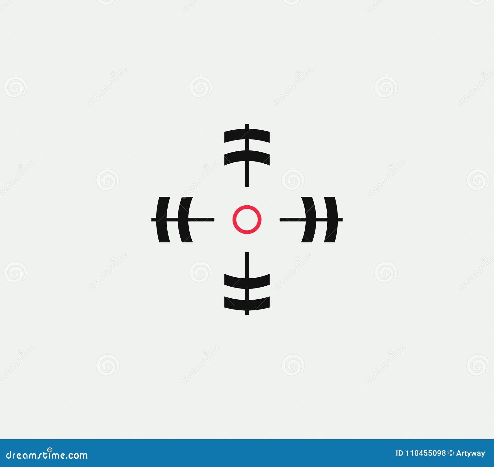 Sikta på den linjära stiliserade symbolen för vektorn, det abstrakta tecknet för målet, målsymbolet, mallen för vapenaffärslogoen