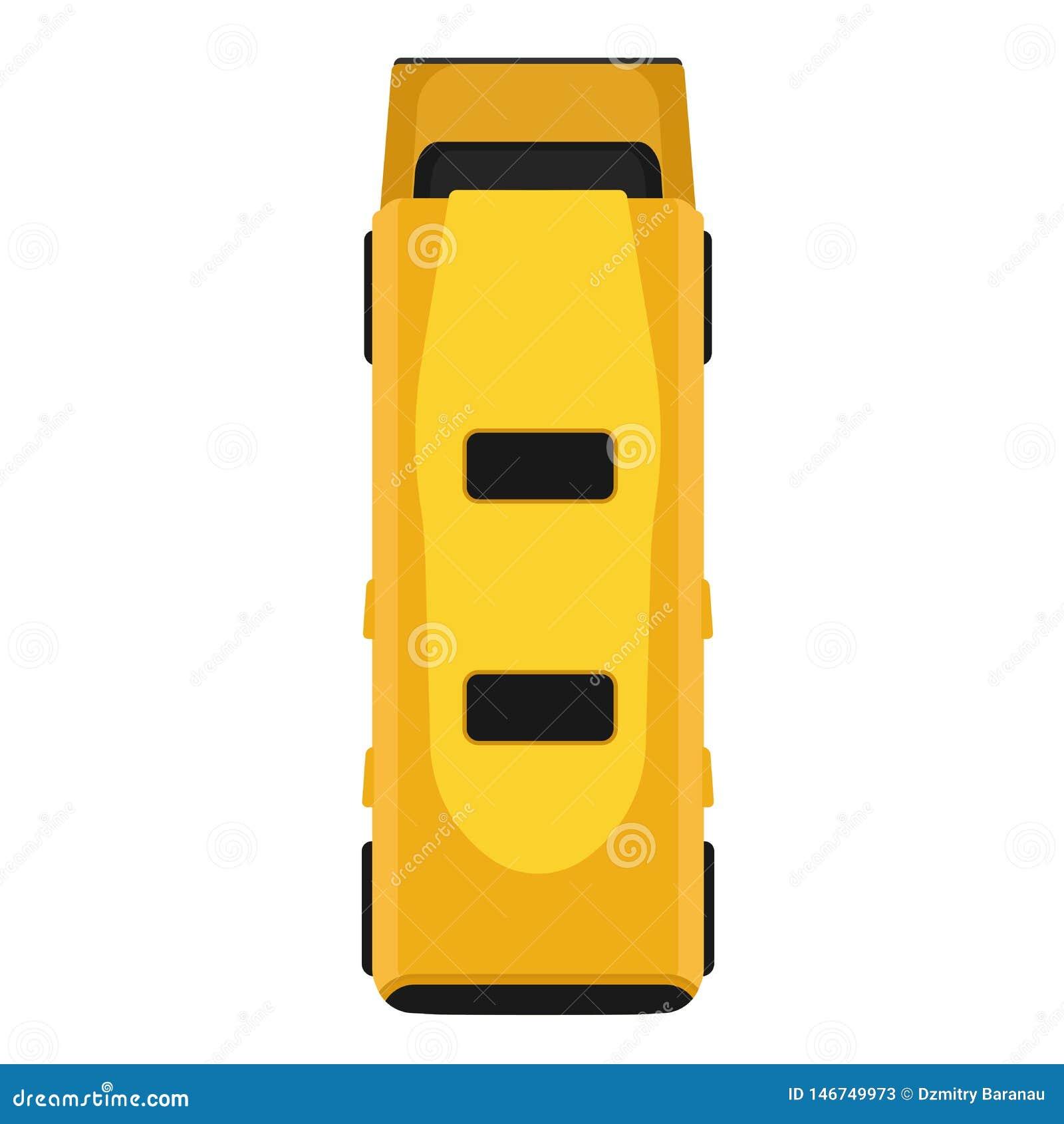 Sikten för gult för vektorn för bussen isolerade den bästa plant för symbolen trans. för medlet Bil för tecknad filmpassageraretr