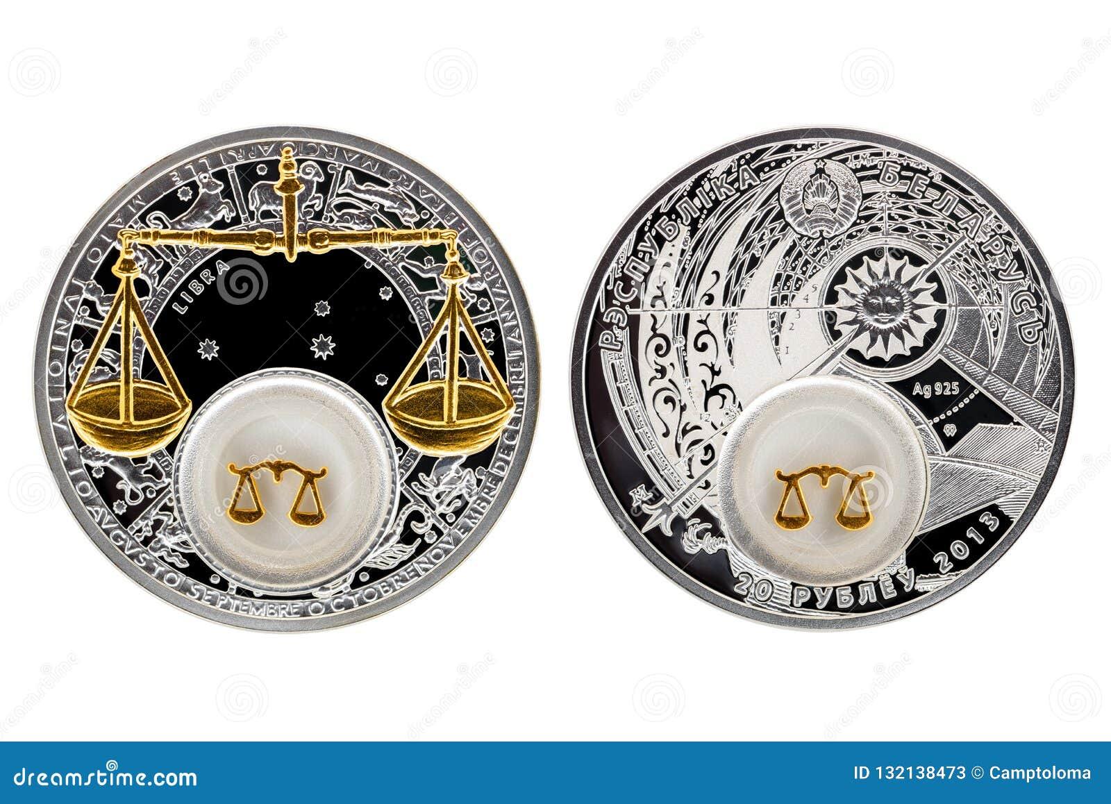 Silbermünze-Astrologie Waage Weißrusslands