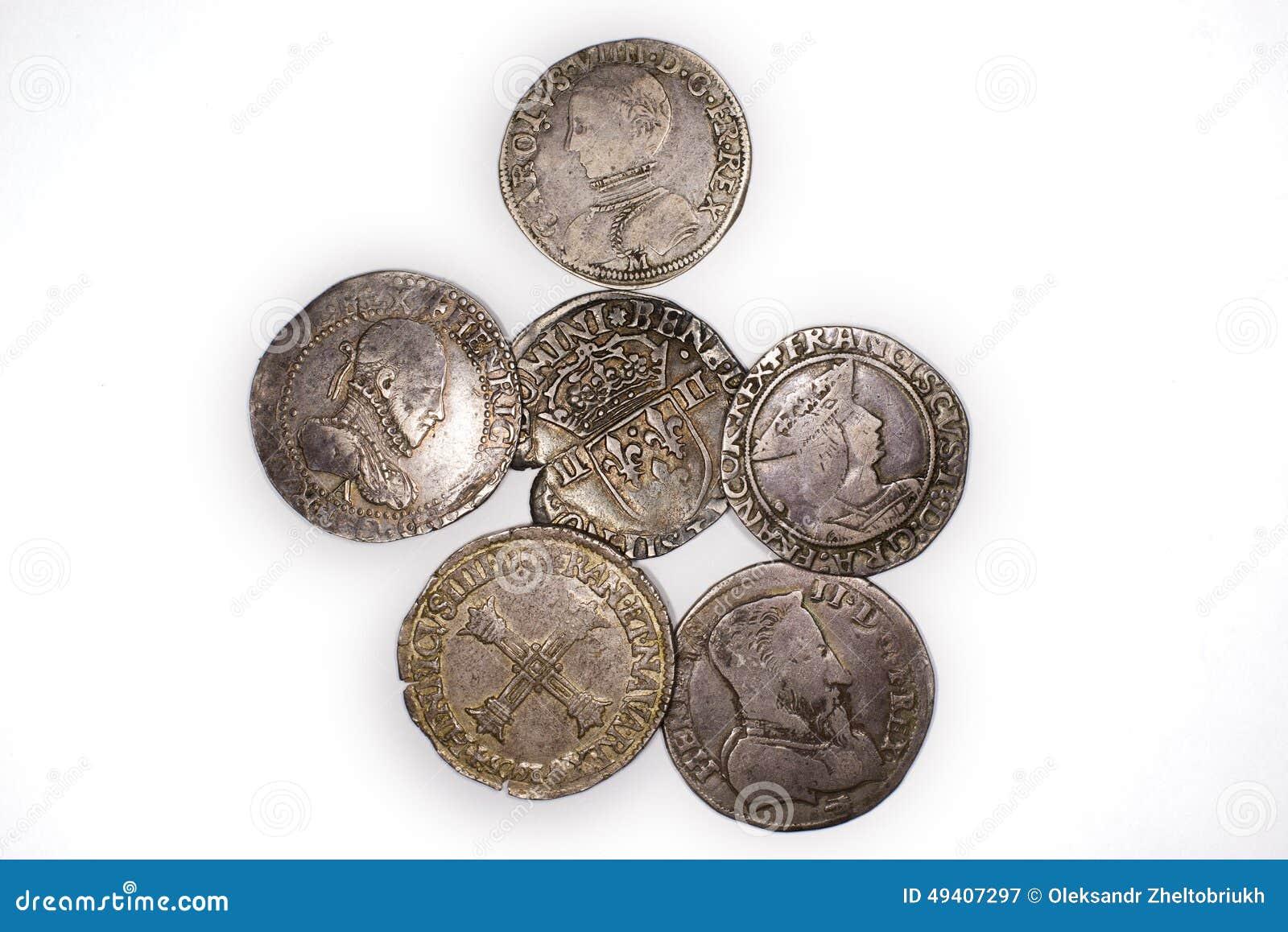 Download Silbermünzen Der Weinlese Mit Porträts Auf Einem Weißen Hintergrund Stockbild - Bild von francis, münze: 49407297
