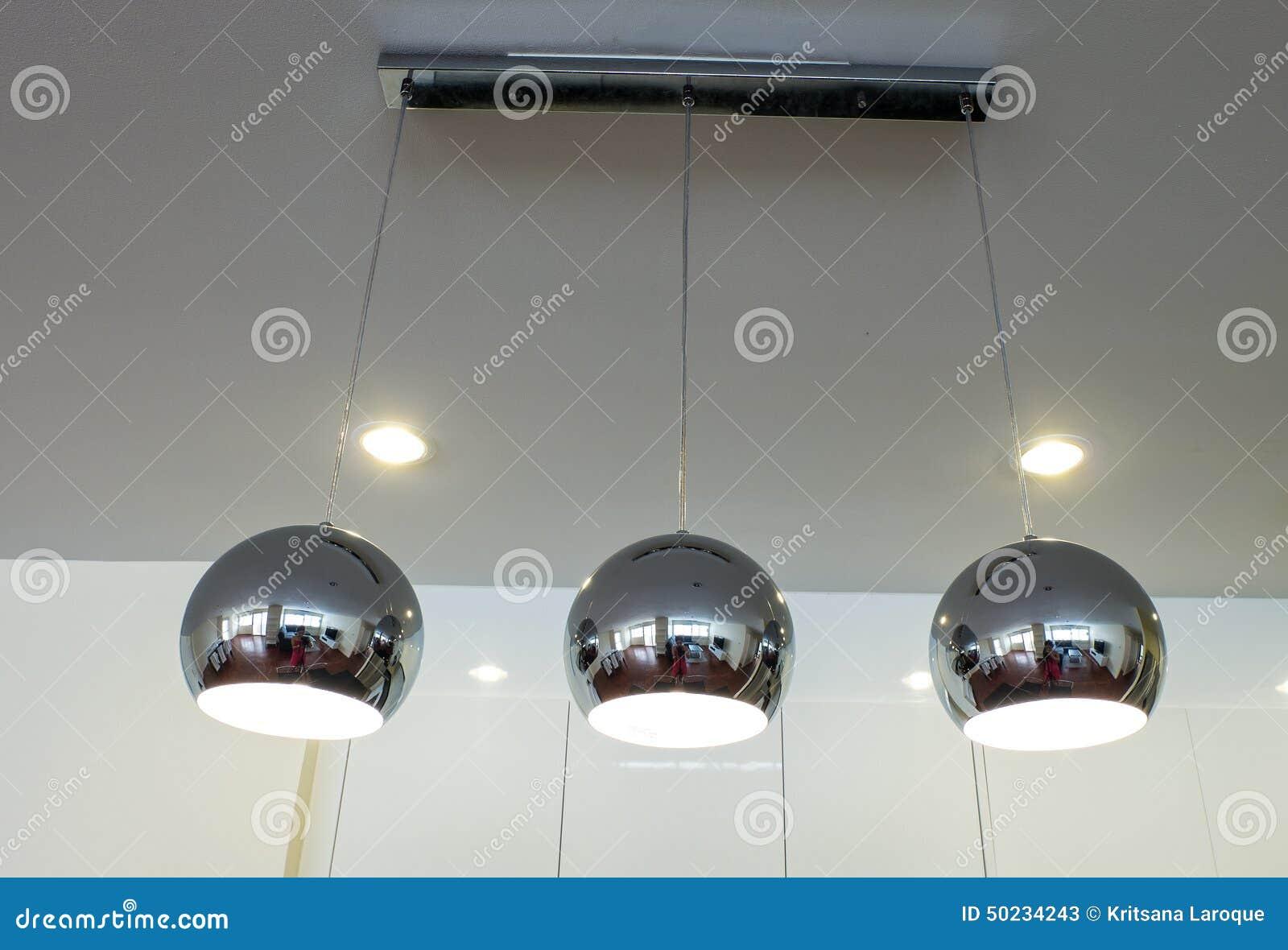 Silberne Küchenlampen Stockbild Bild Von Raum Unschärfe 50234243