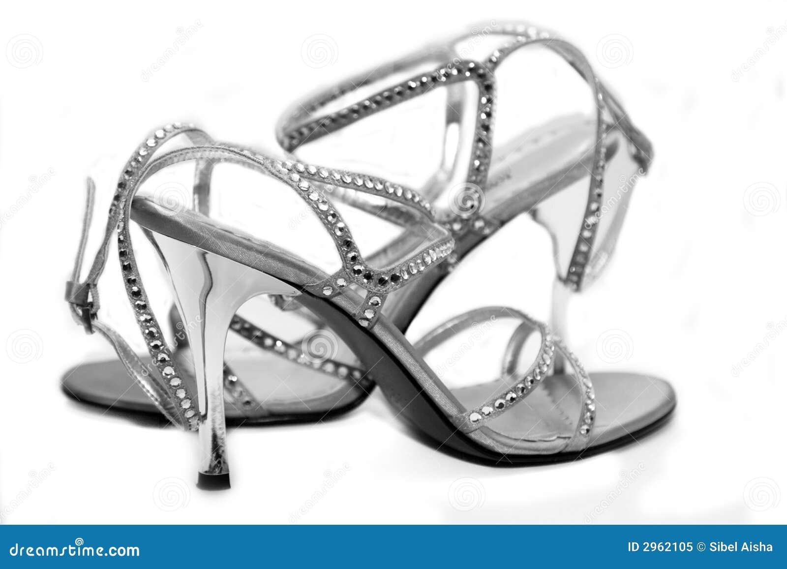 Silberne Schuhe Stockbild Bild Von Entwerfer Kleid Cocktail 2962105