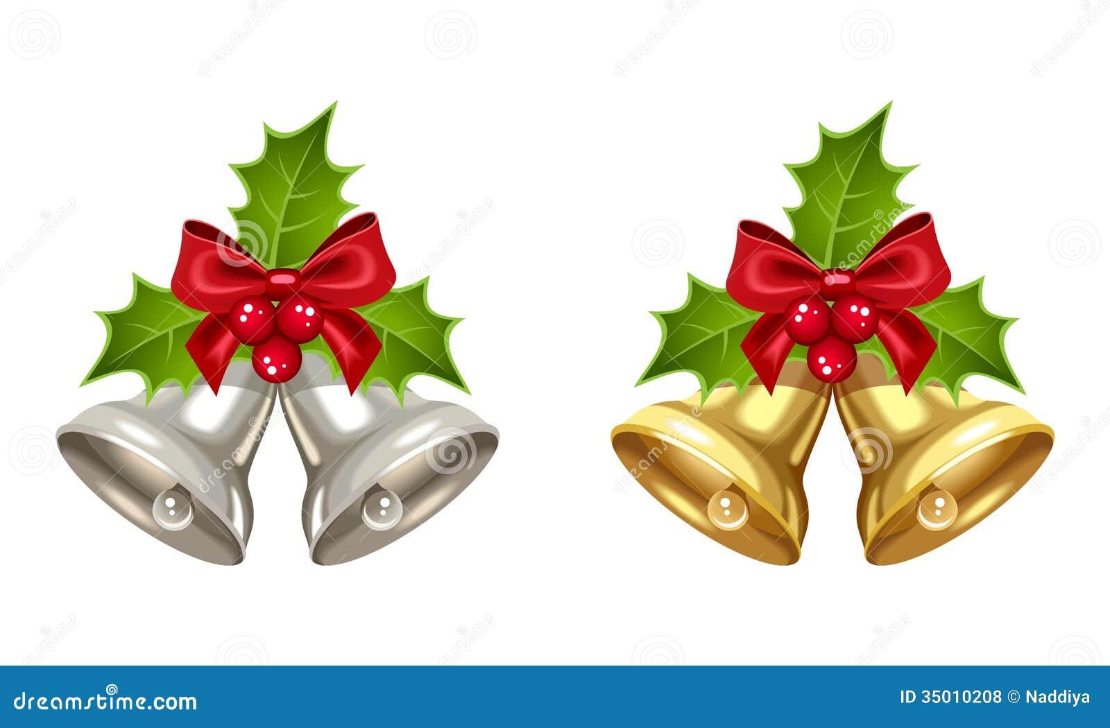 silberne und goldene weihnachtsglocken lizenzfreie. Black Bedroom Furniture Sets. Home Design Ideas