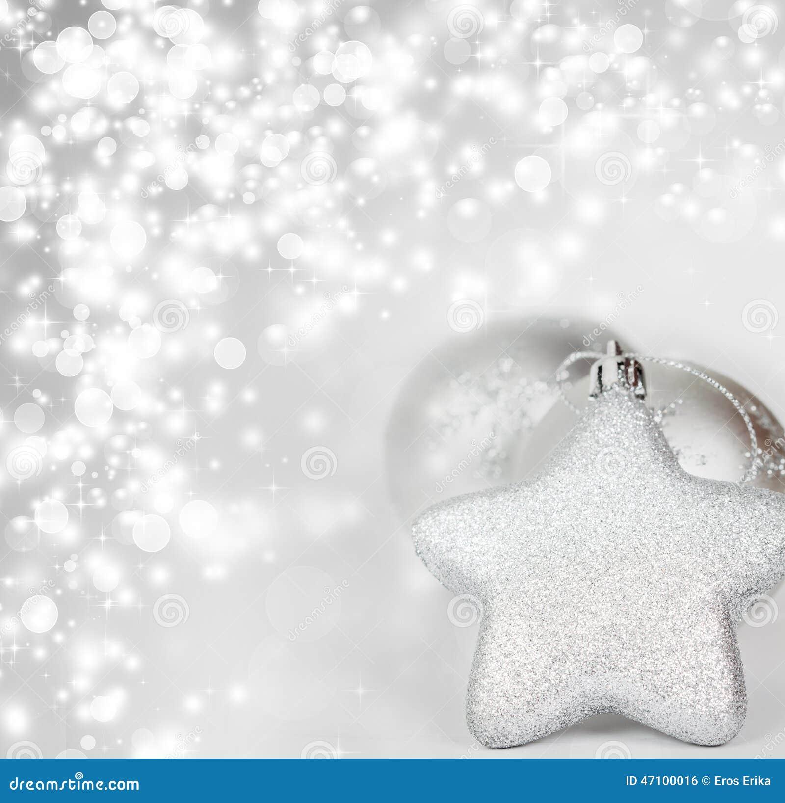 Silberne Weihnachtsdekoration