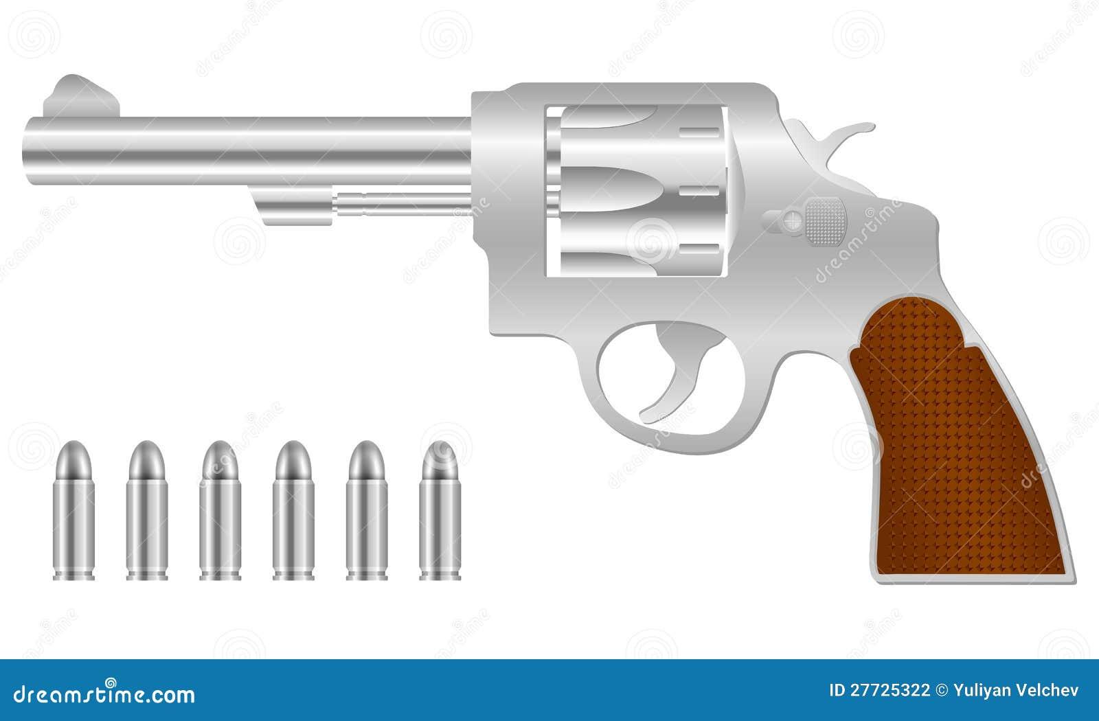 Silberner Revolver und Gewehrkugeln