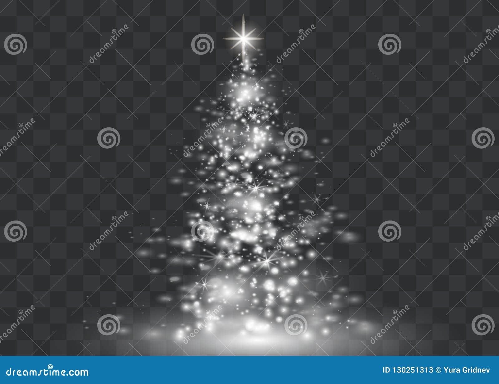 Weihnachtsbilder Mit Licht.Silberner Weihnachtsbaum Auf Transparentem Hintergrund Viele Mehr